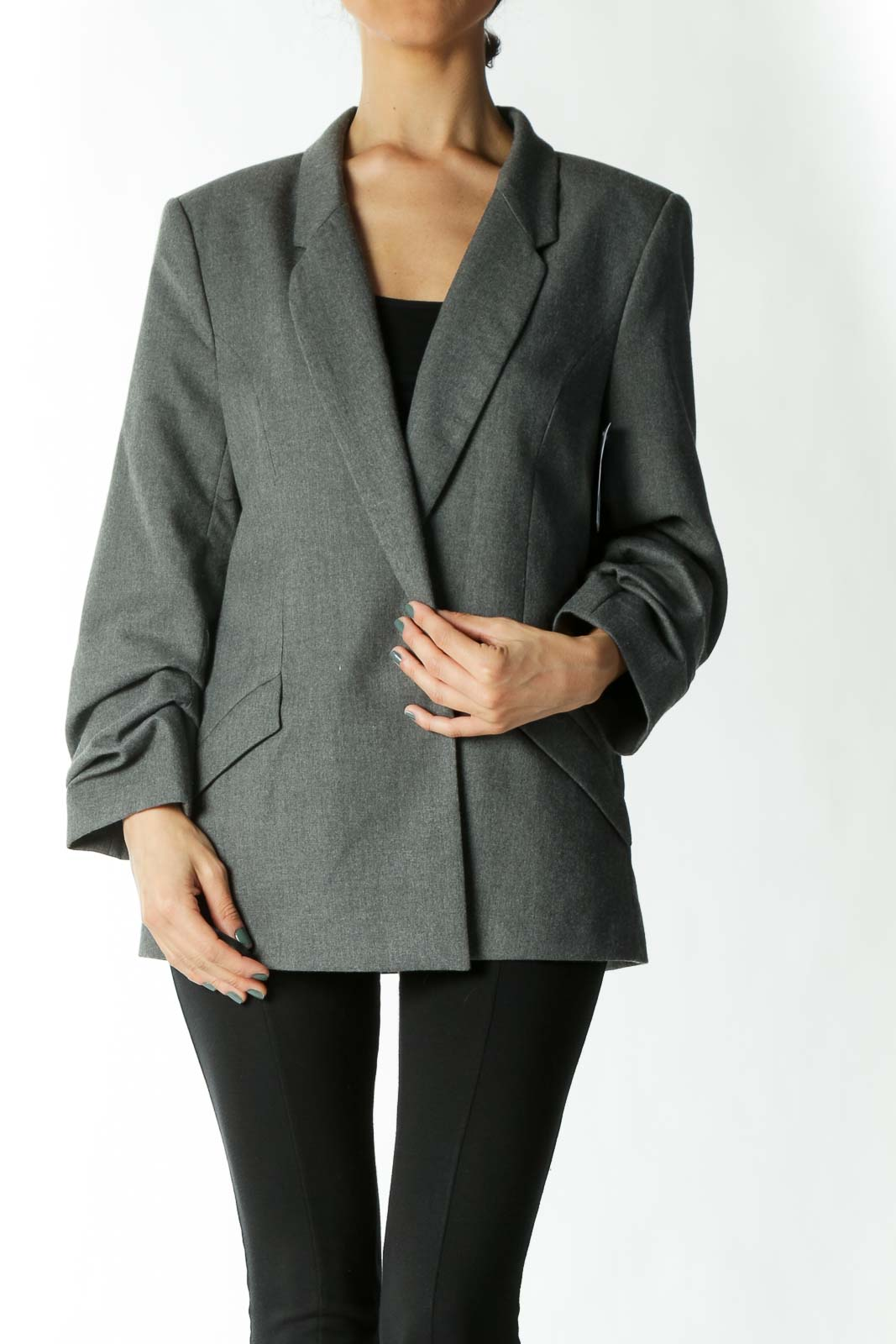 Grey Ruched-Sleeve Hidden-Closure Pocketed Blazer