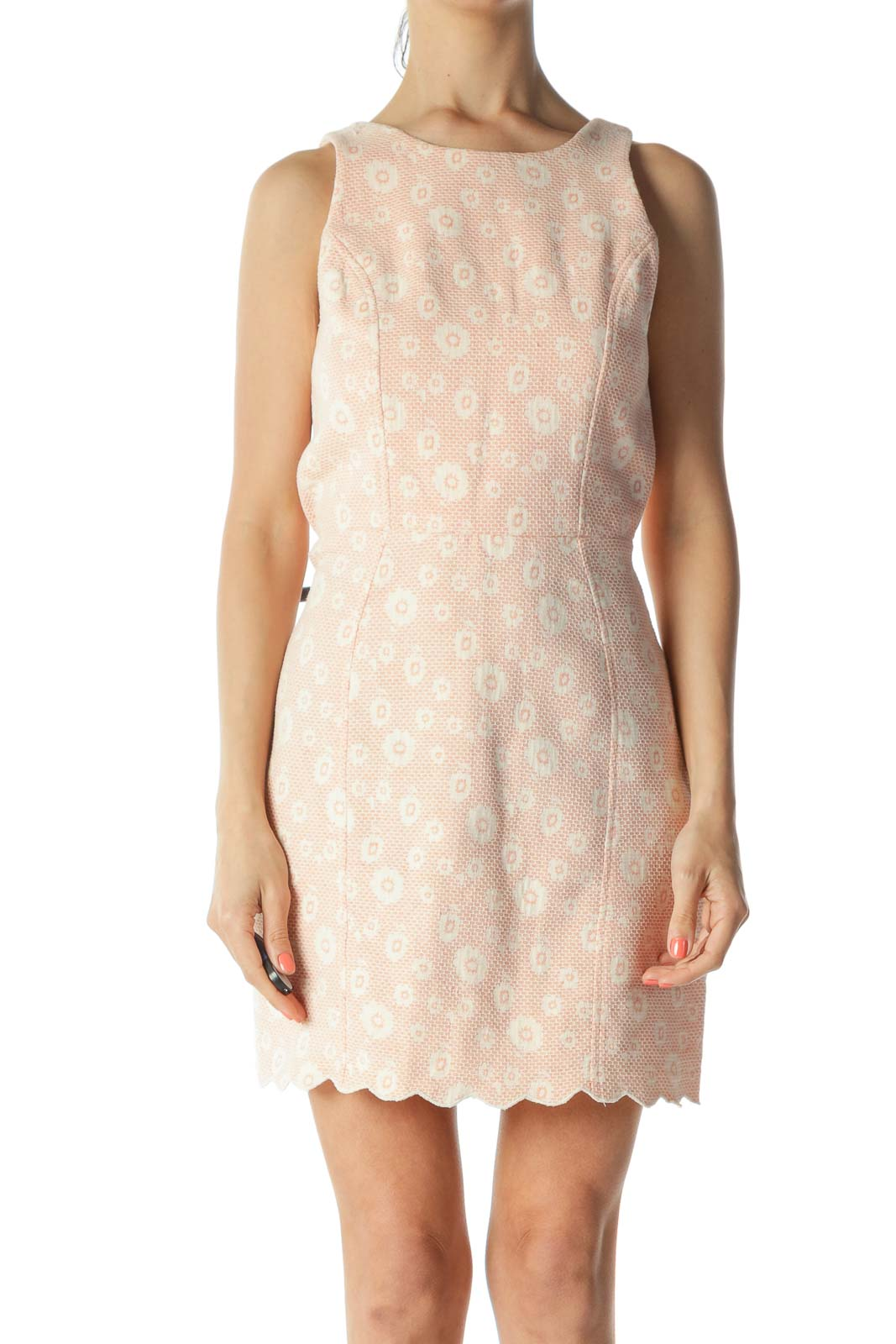 Orange/Cream Floral-Knit-Body Back-Cut-Out and Snap-Buttons Dress