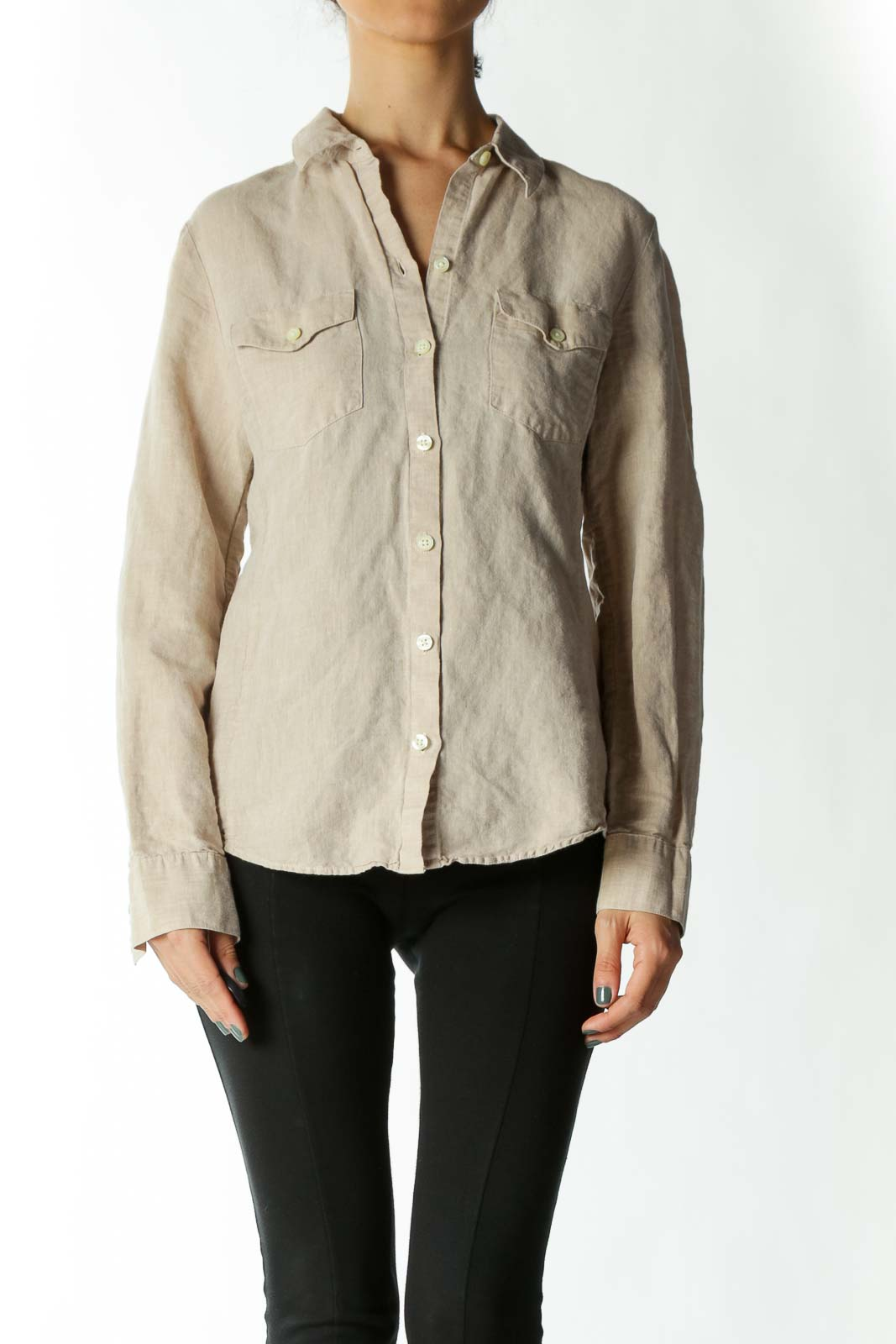 Beige Flax & Cotton Button-Down Shirt With Breast-Pockets