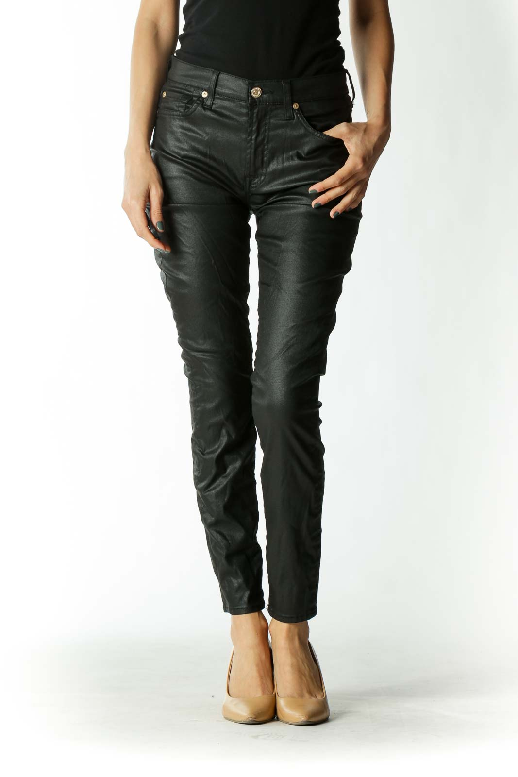 Black Waxed Mid-Rise Skinny Jeans with Gold Embellishments