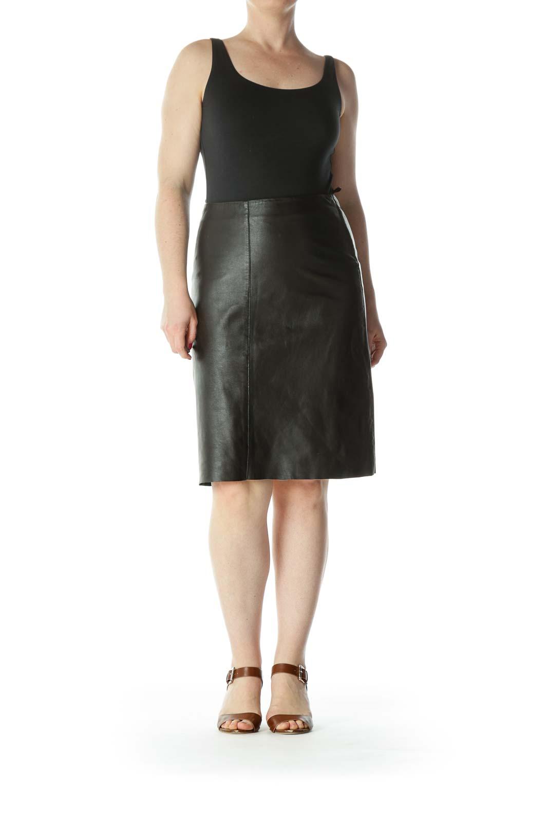 Dark-Brown Side-Zipper Mid-Length A-Line Lined Skirt