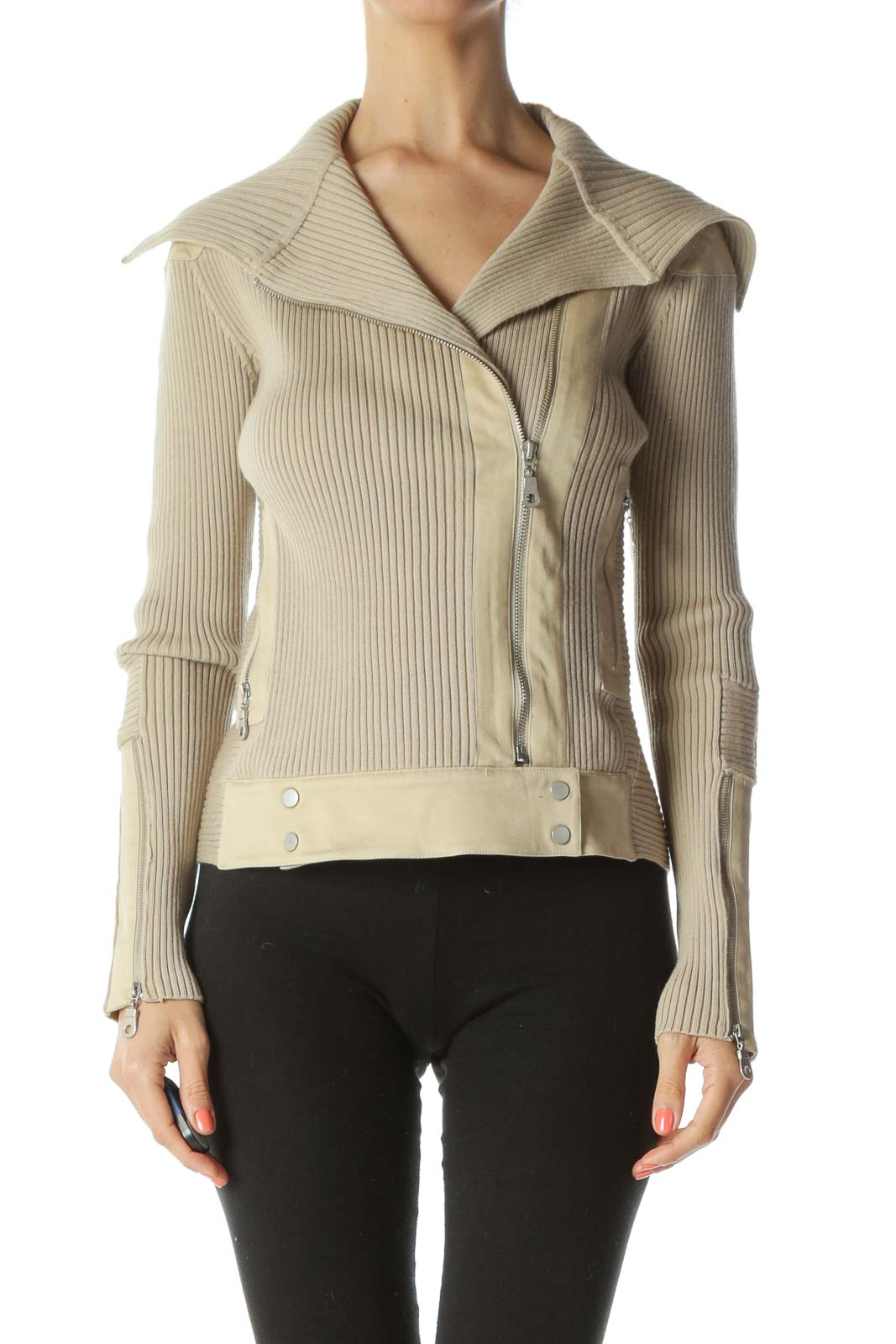 Beige Ribbed Stretch Pocketed Fitted Jacket