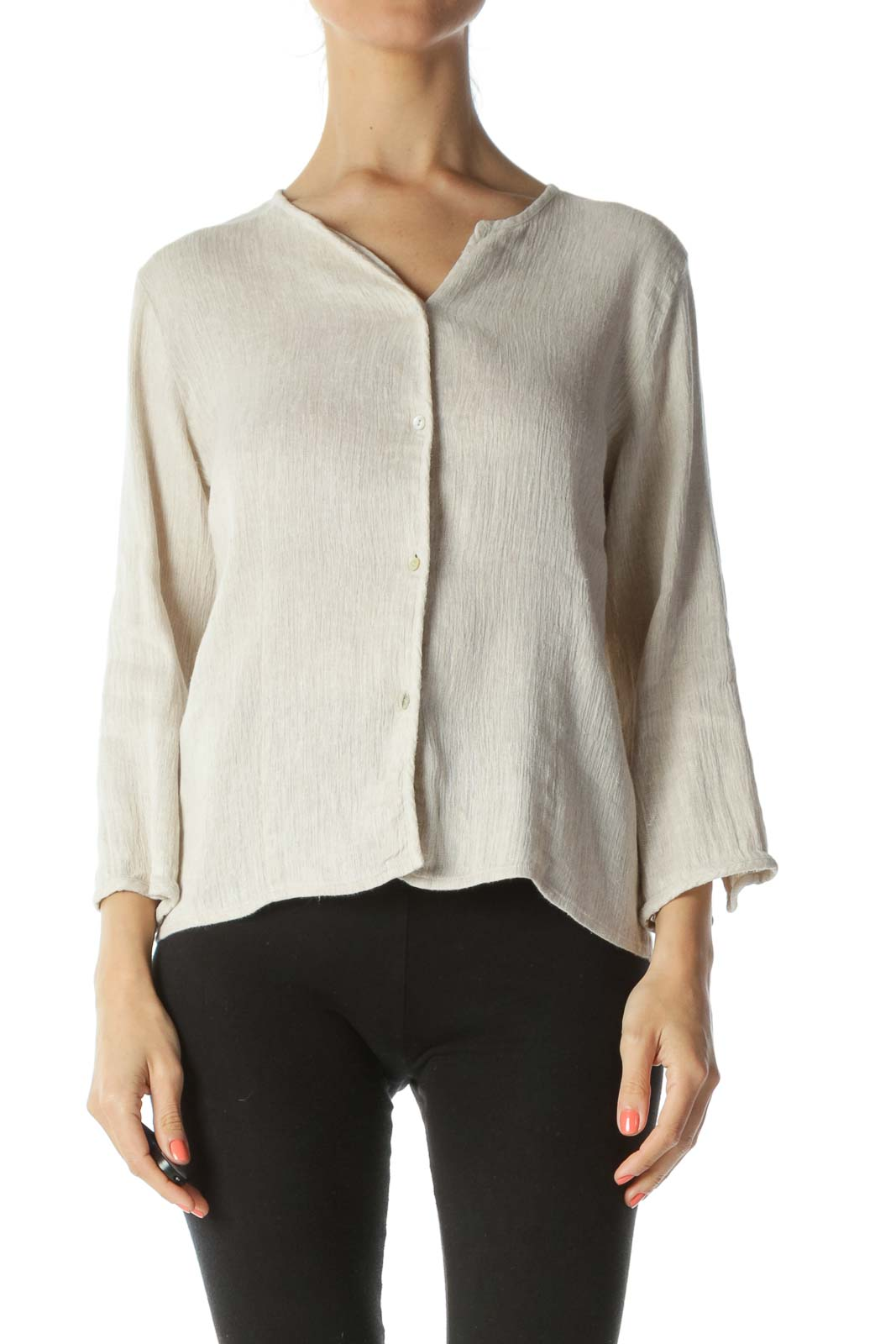 Beige Cotton Linen Textured Buttoned Light-Weight Knit Top