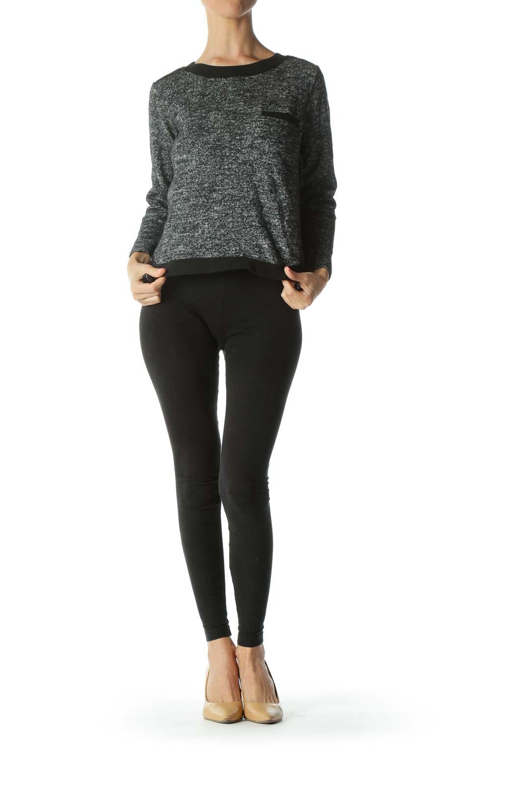 Black/White/Gray Mottled Chest-Pocket Long-Sleeve Knit Top
