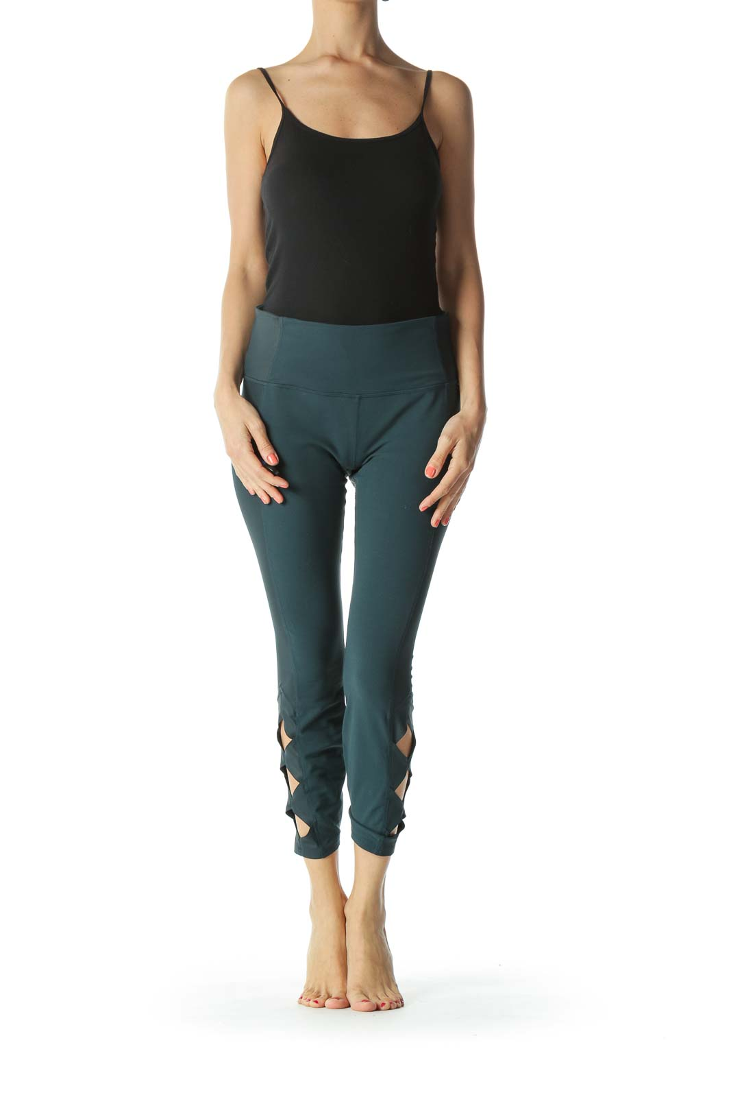 Emerald-Green Leg-Side-Geometric-Detail Leggings