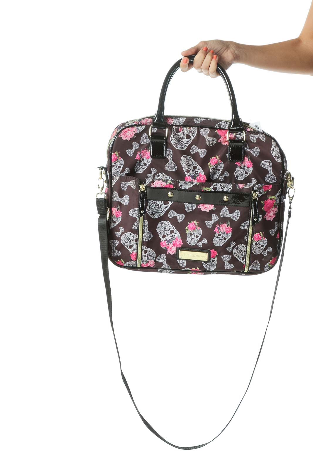 Brown and Pink Skull Print Tote Bag