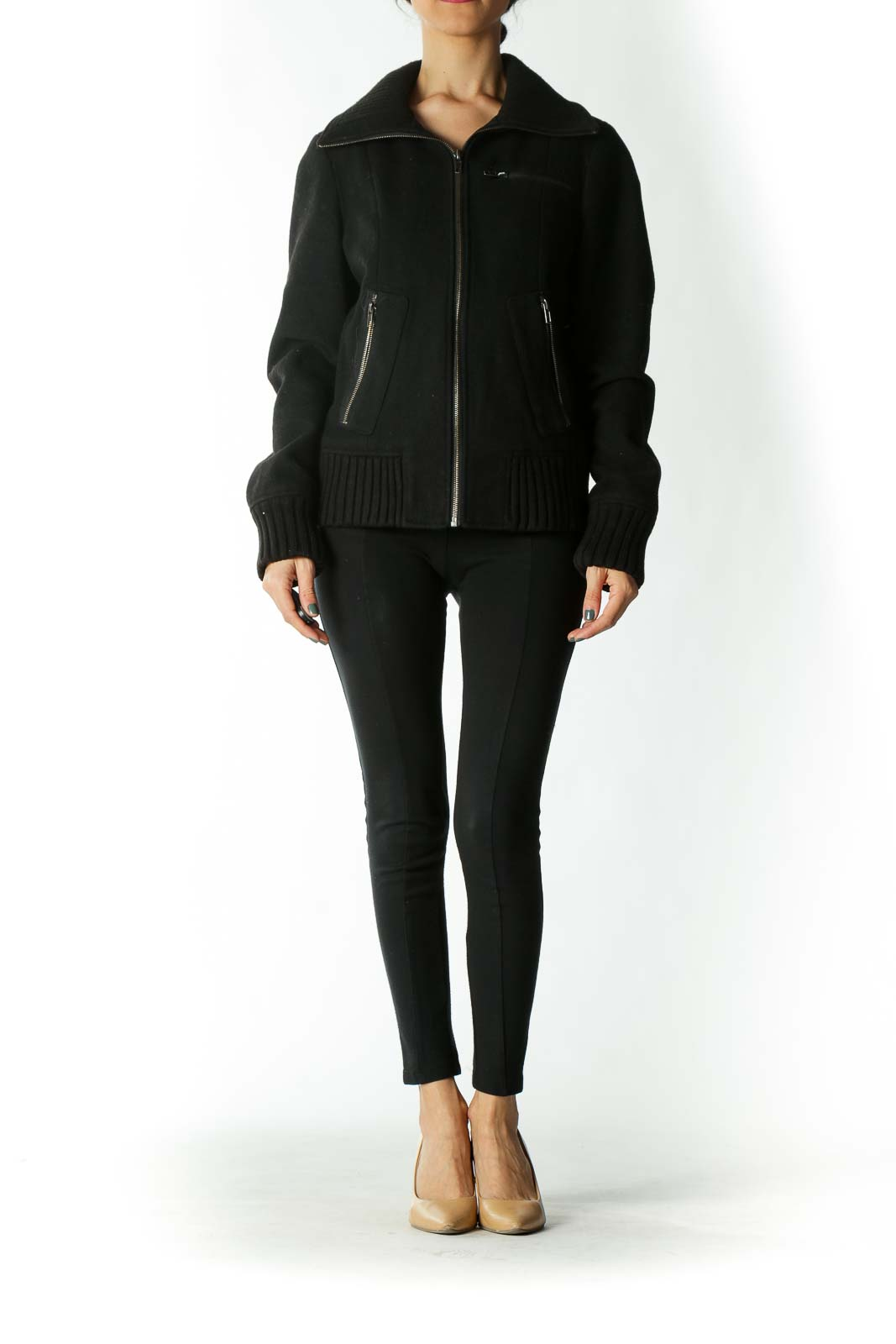 Black Wool-Blend Ribbed-Neck & Sleeve Zip-Up Coat