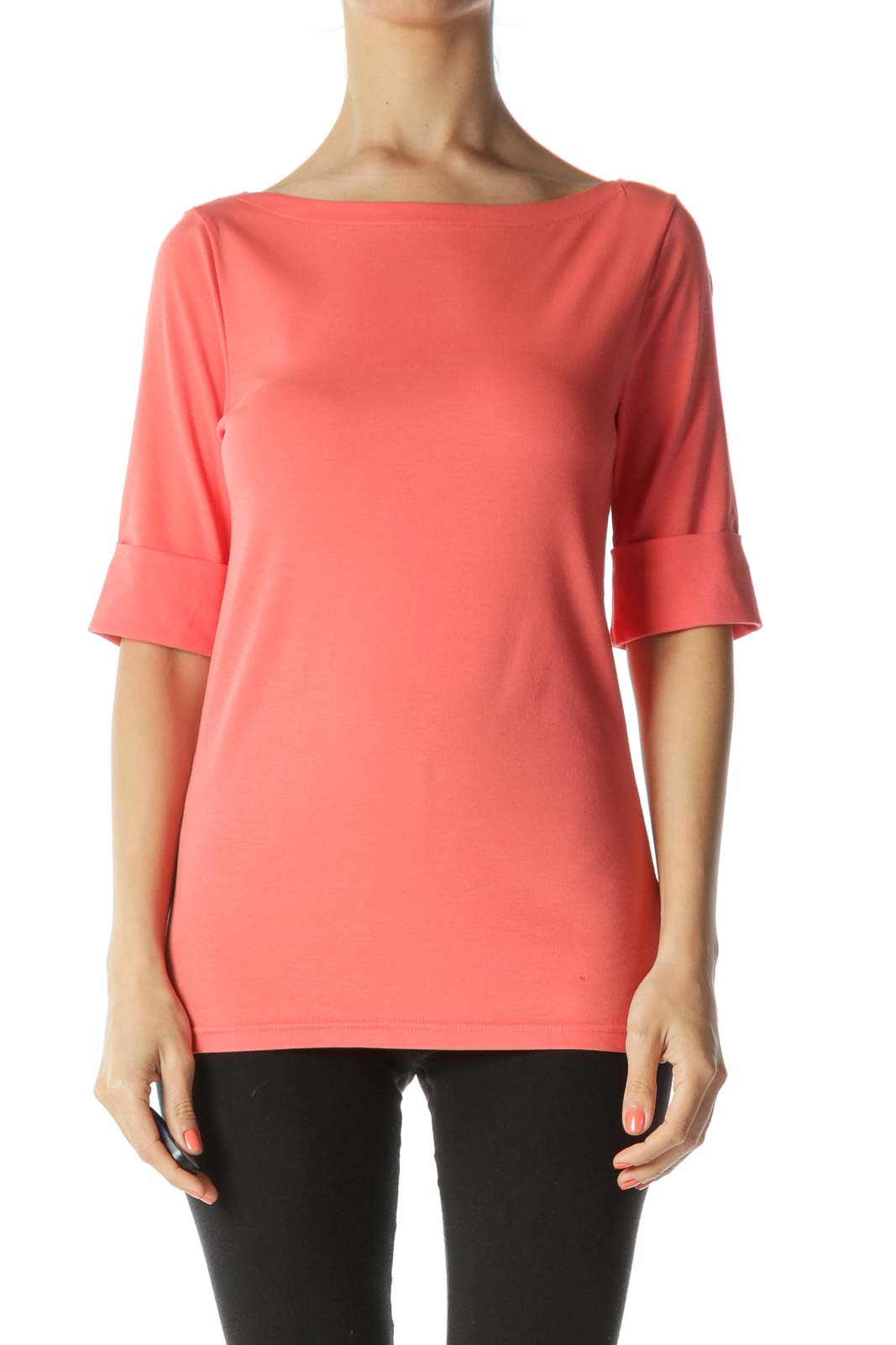 Orange Round Neck Knitted Shirt