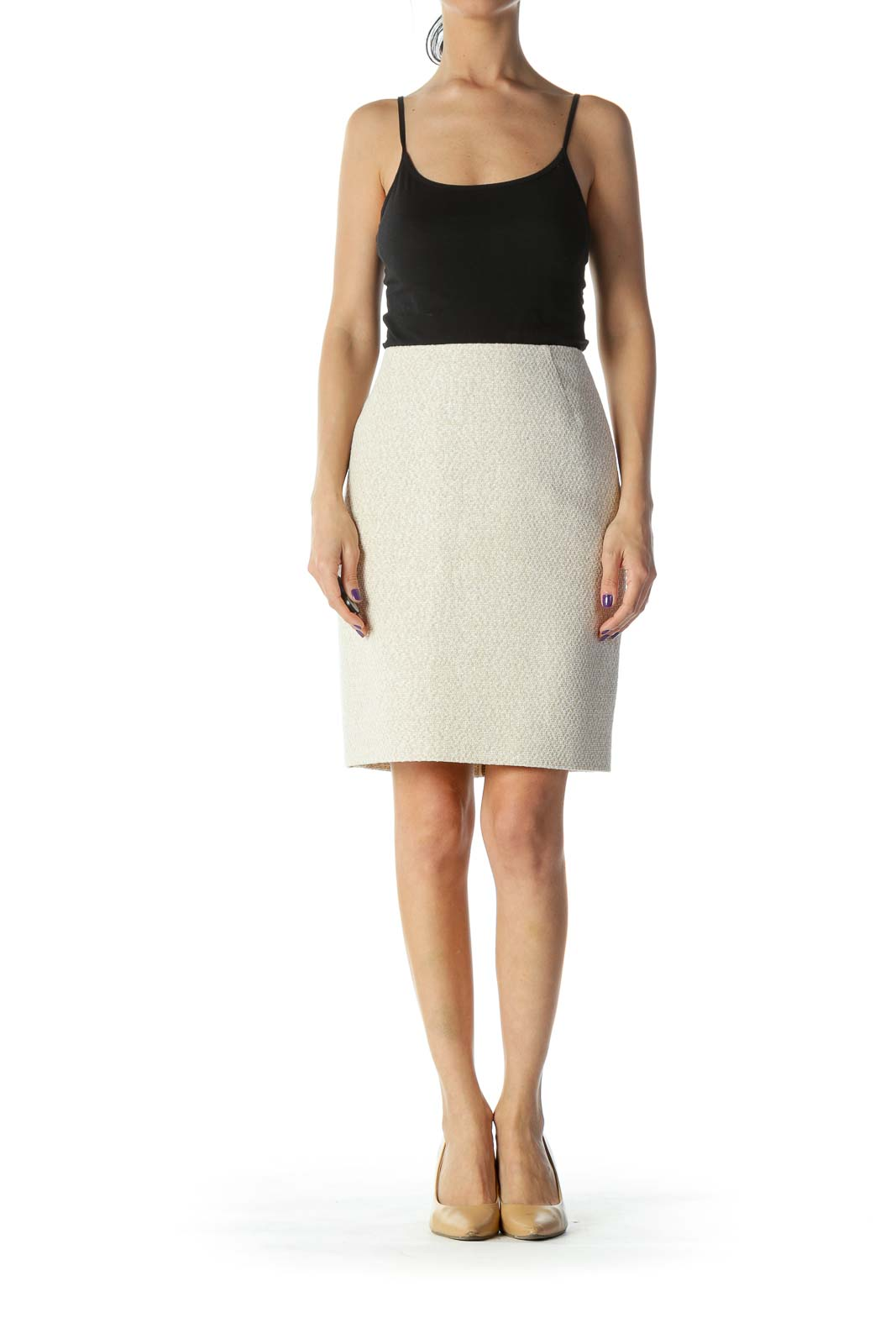 Beige Knit Double Zipper Pencil Skirt