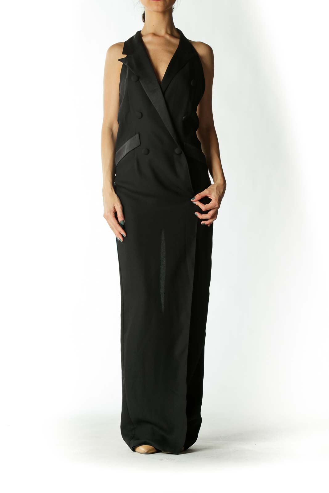 Black Mock-Trench Wide Leg Jumpsuit