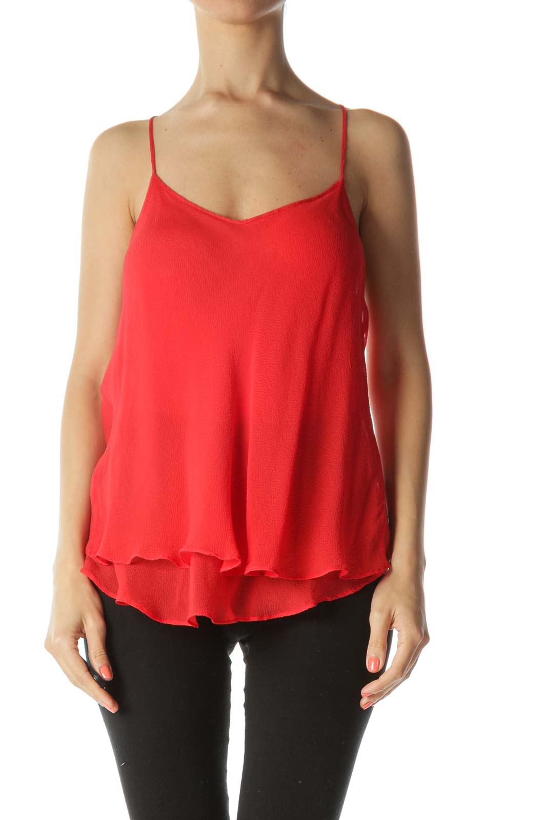 Red 100% Silk Adjustable-Strap See-Through Flared Top