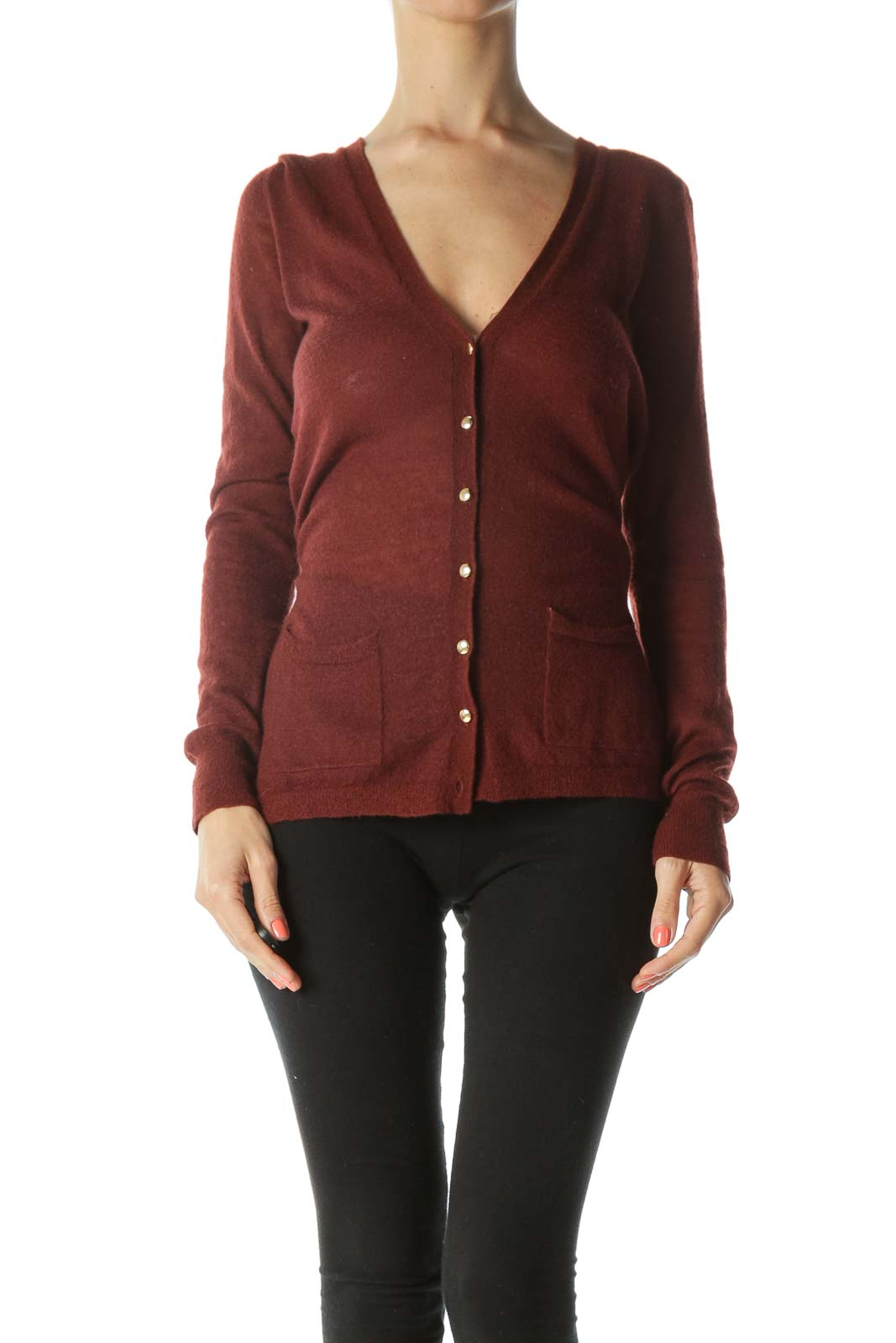 Burgundy Gold-Buttons Wool and Alpaca Pocketed Cardigan