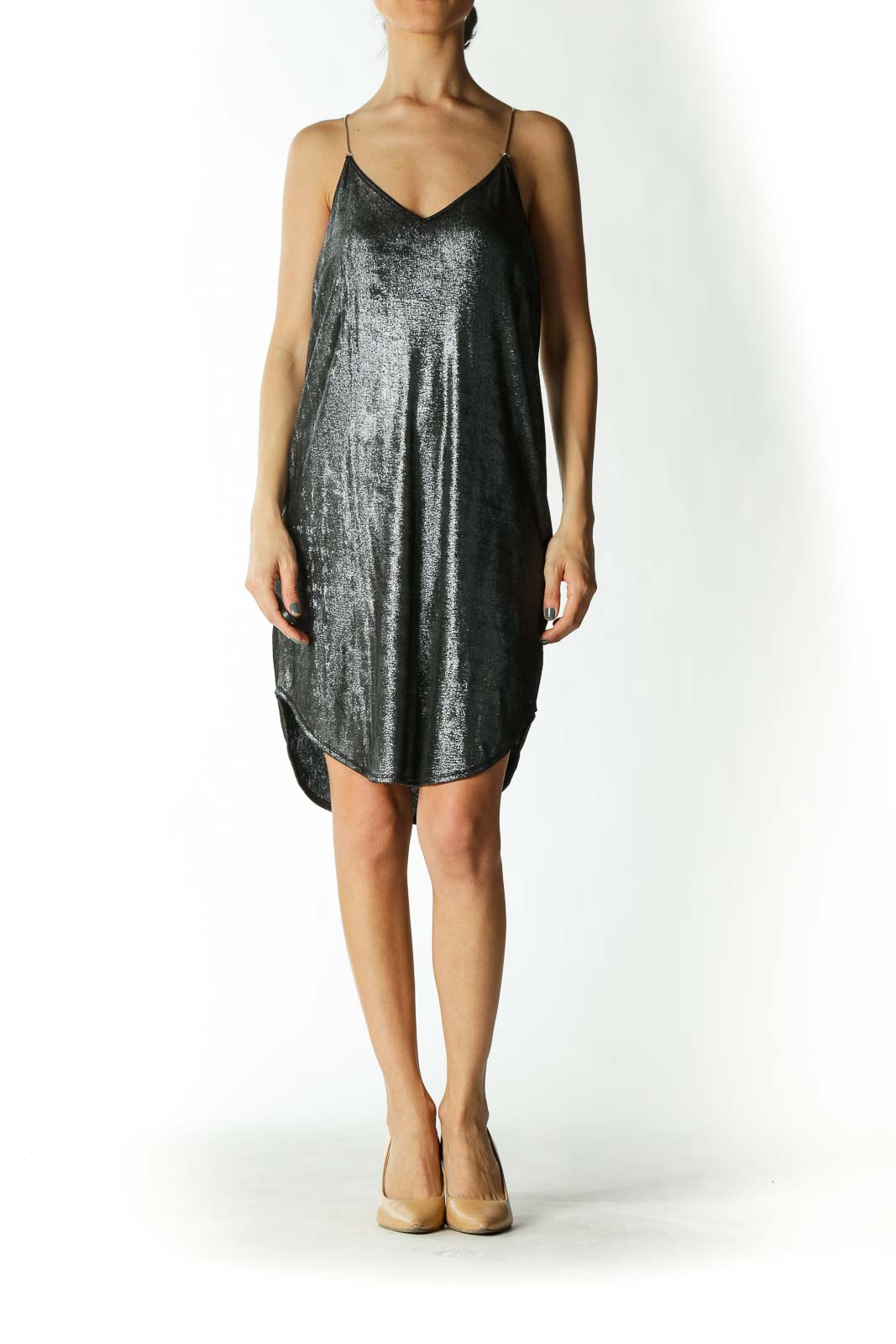 Silver Metallic Mini Dress With Metal Straps