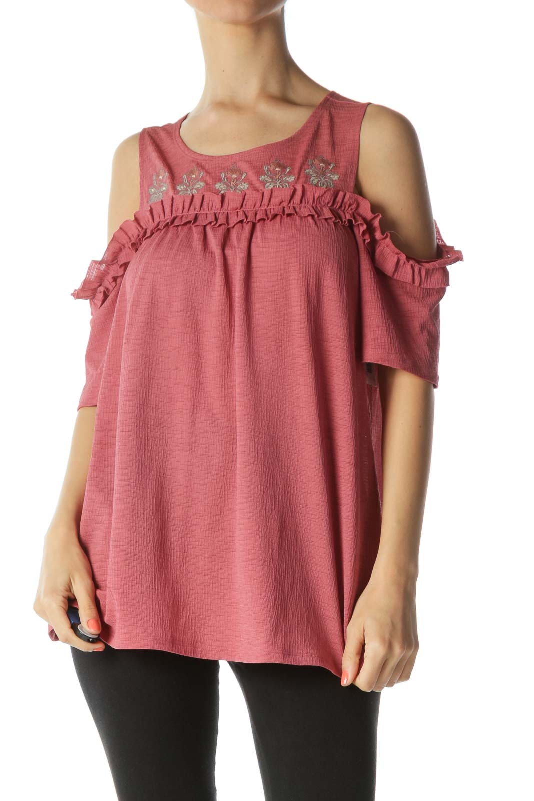 Pink Green-Floral-Embroidery Ruffle-Detail Cold-Shoulder Blouse