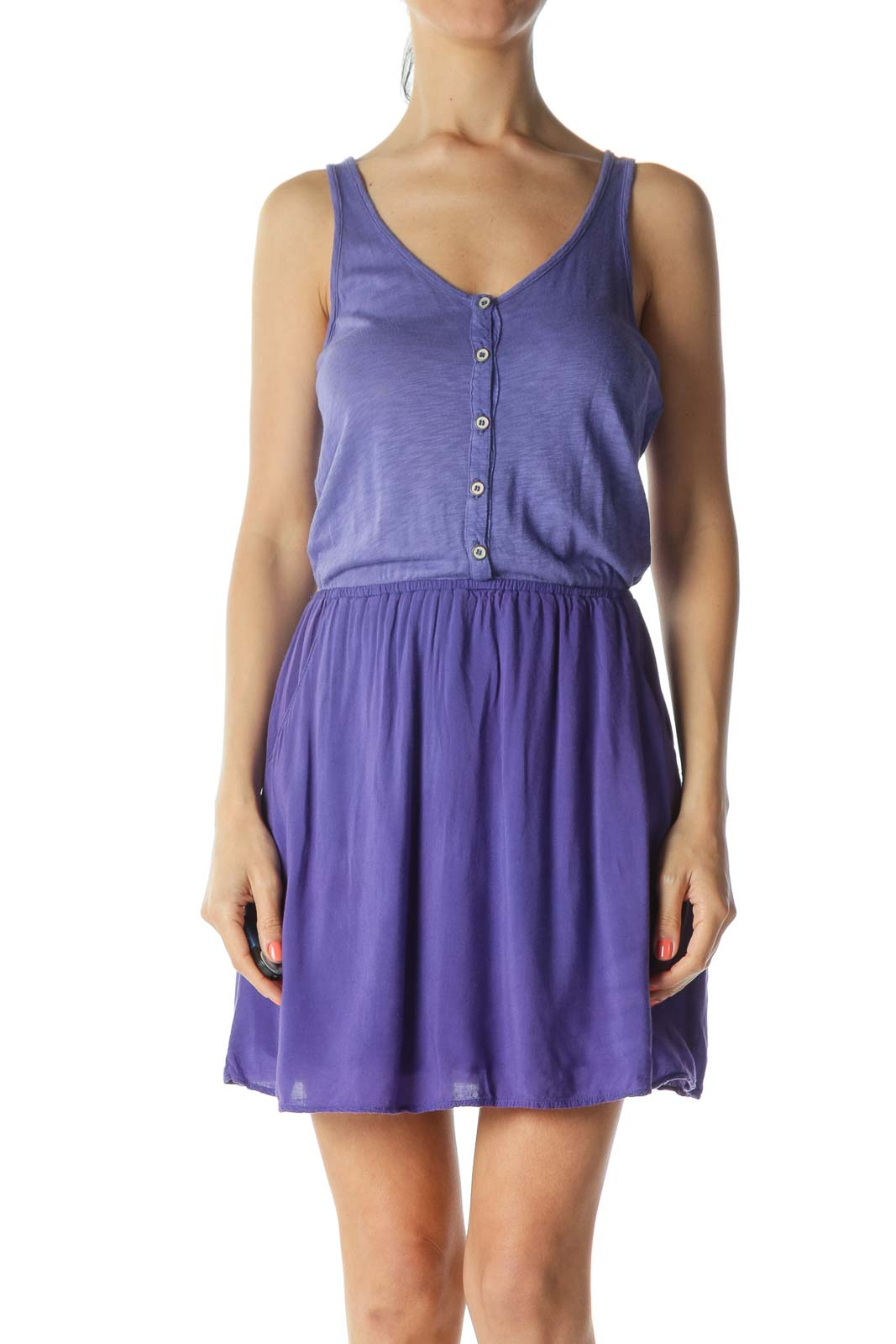 Purple Supima Cotton Pocketed Buttoned Jersey Dress
