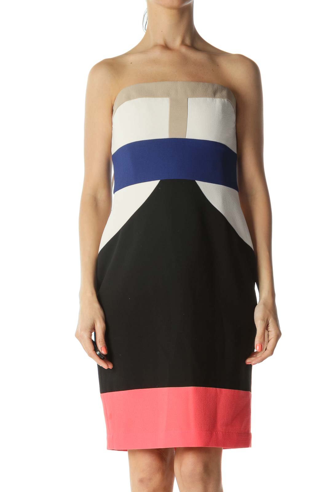 Multicolor Color-Block Strapless Cocktail Dress with Inside Structure and Bust-Adjustable Hooks