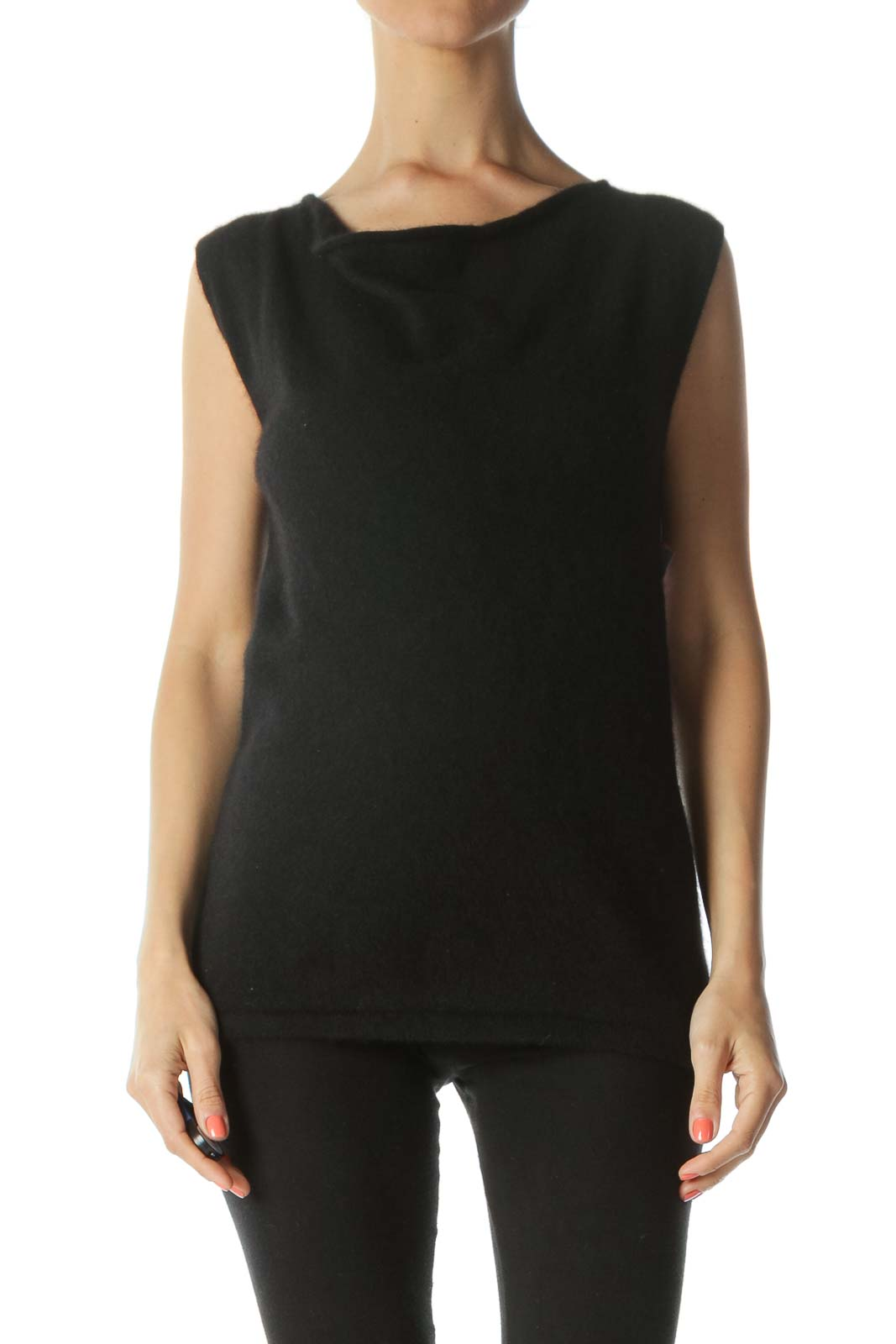 Black Cashmere Soft Cowl-Neck Sleeveless Tank Top