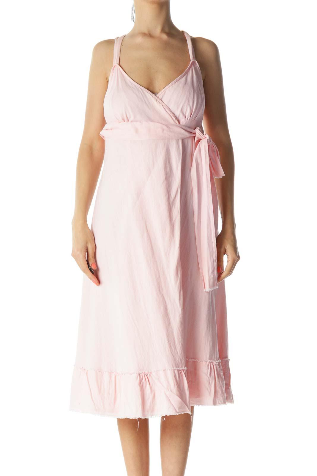 Light-Pink 100% Linen Raw-Hem Waist-Knot Wrap Dress