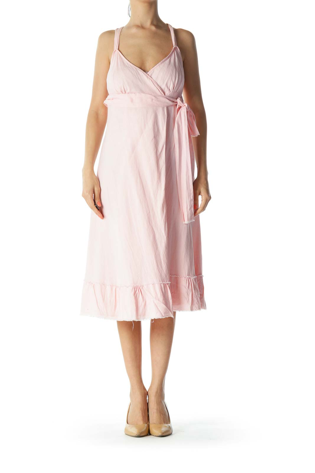 Light-Pink 100% Linen Raw-Hem Waist-Knot Wrap Dress