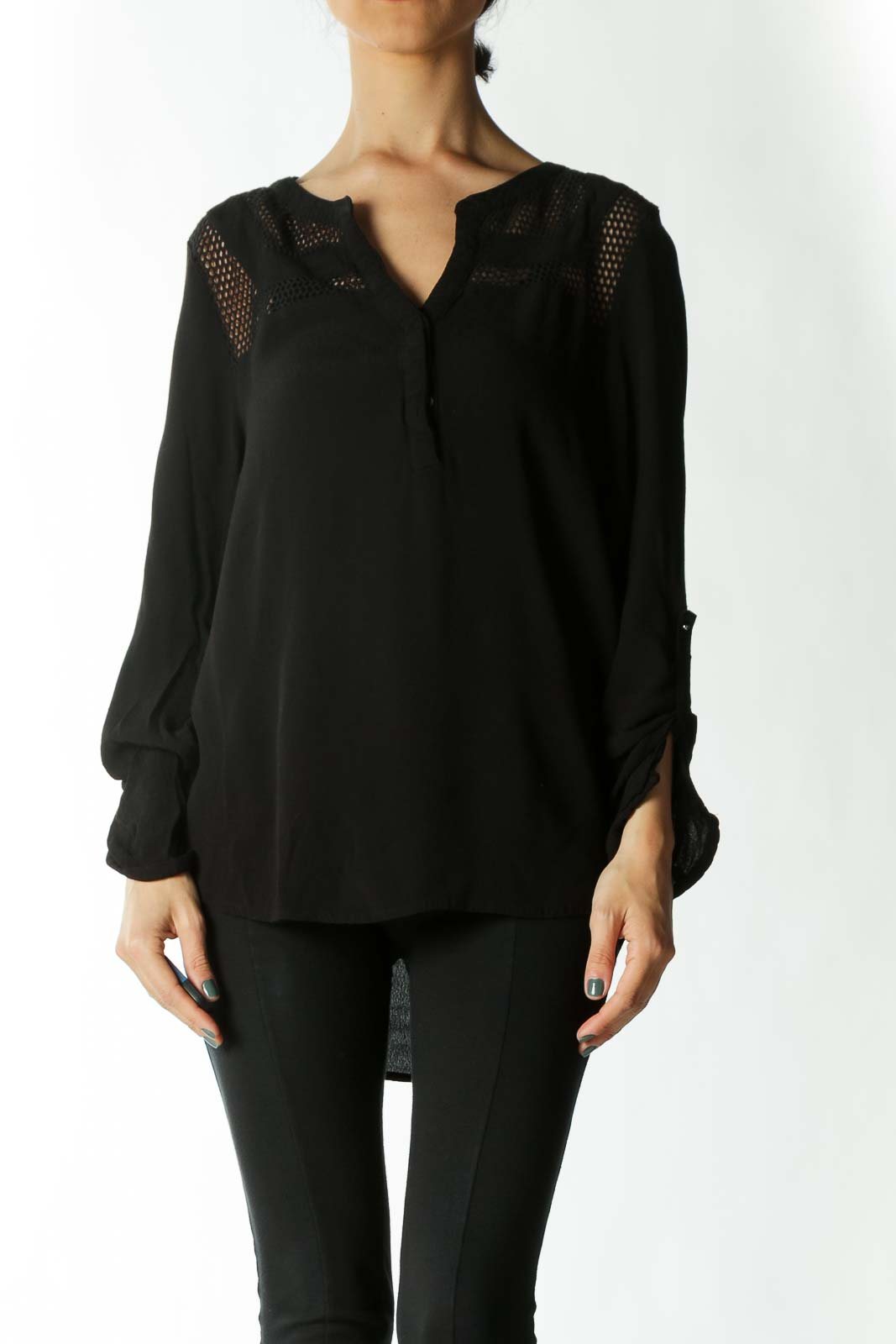 Black Honey-Comb-Cutout Long Sleeve Buttoned Blouse