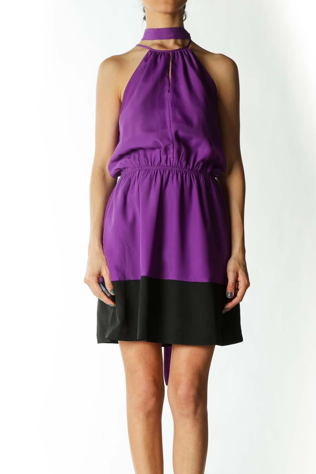 Purple & Black Color-Block High-Neck Sleeveless Waist-Tie Keyhole Dress