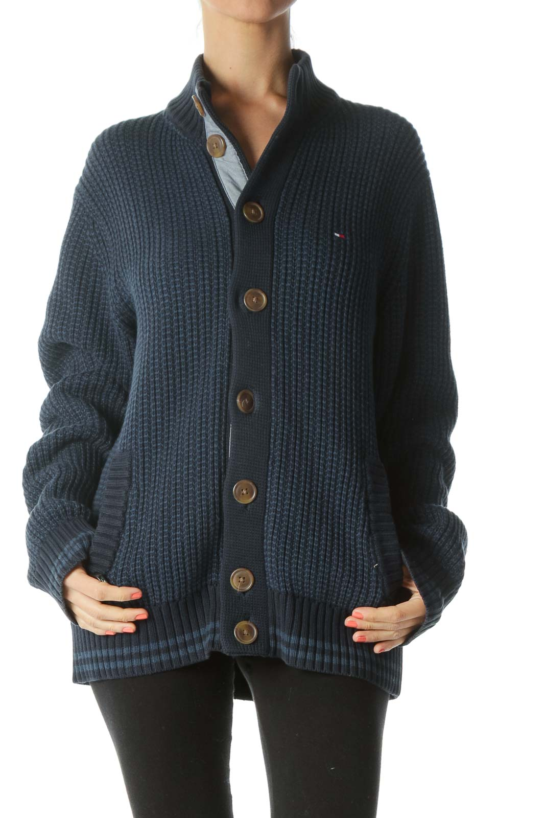 Blue and Navy Rib-Knit High Neck Sweater