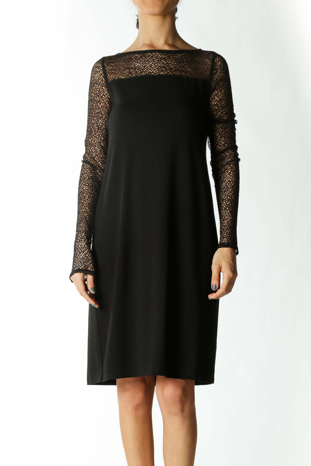 Black Cocktail Dress with Fishnet Detail