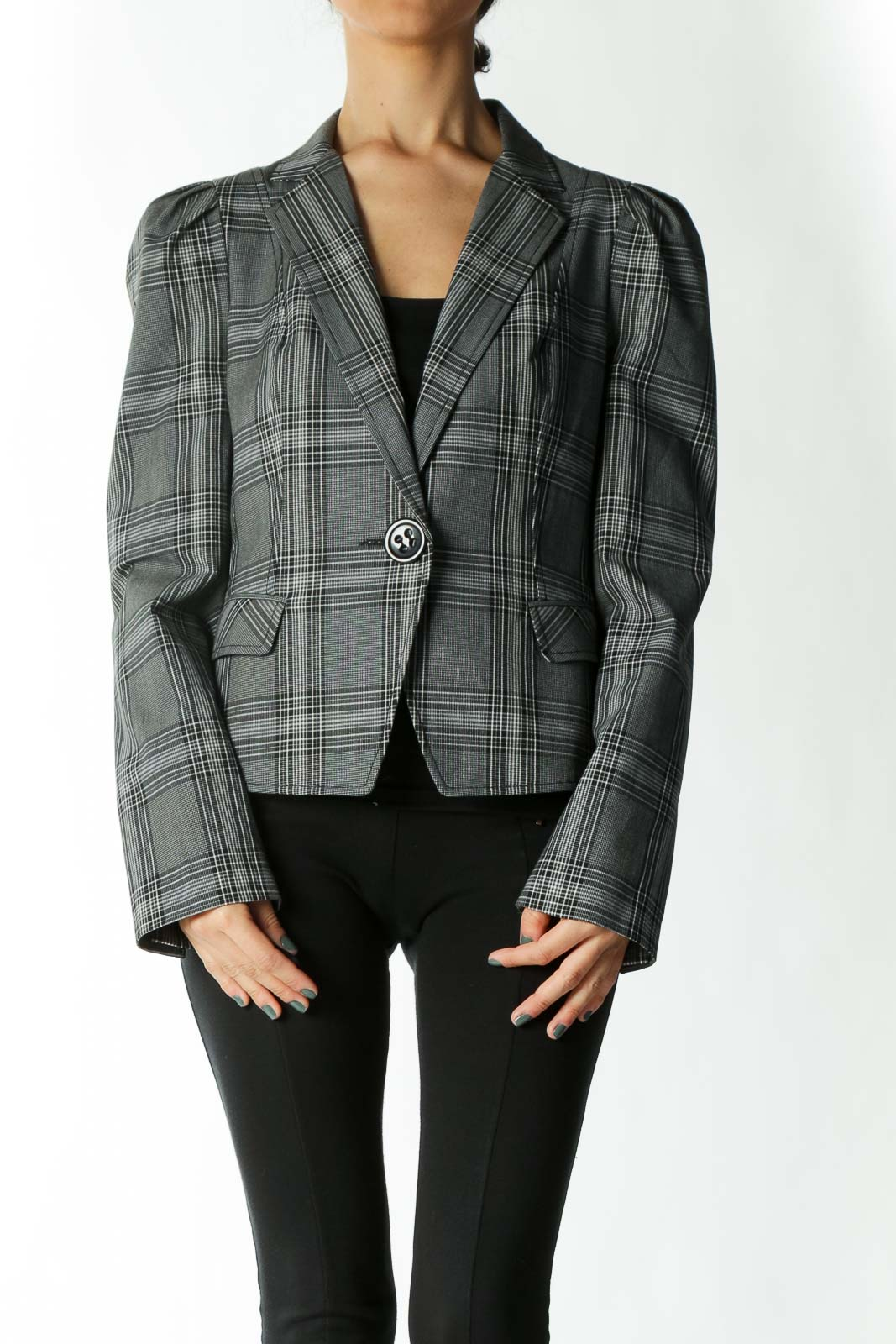 Grey and Black Plaid Fitted Large-Button Blazer