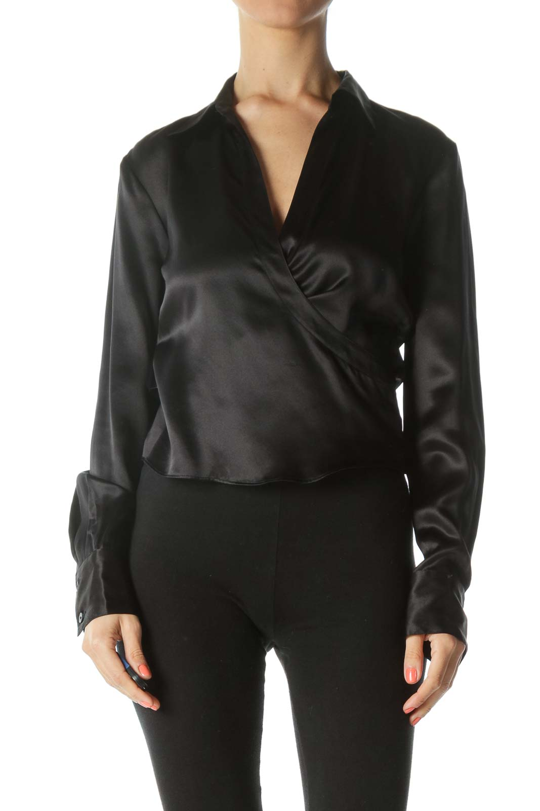 Black 100% Silk Wrap Shiny Long-Sleeve Top