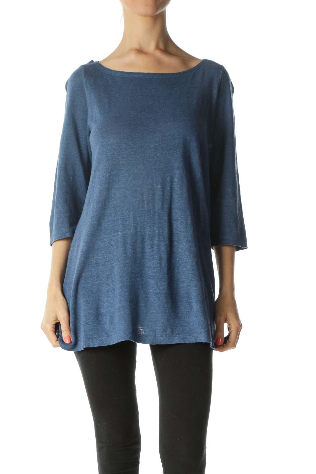 Blue Boat-Neck 3/4-Sleeves Sides-Slit Knit Top