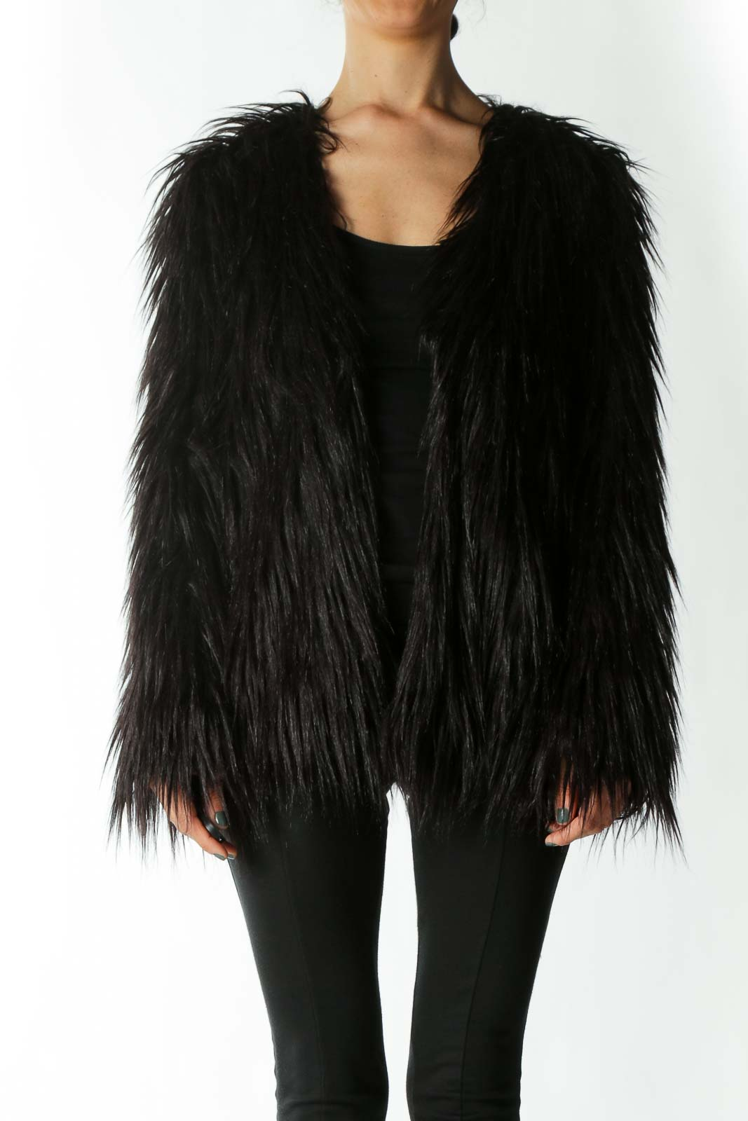 Black Faux-Fur Single-Closure Jacket