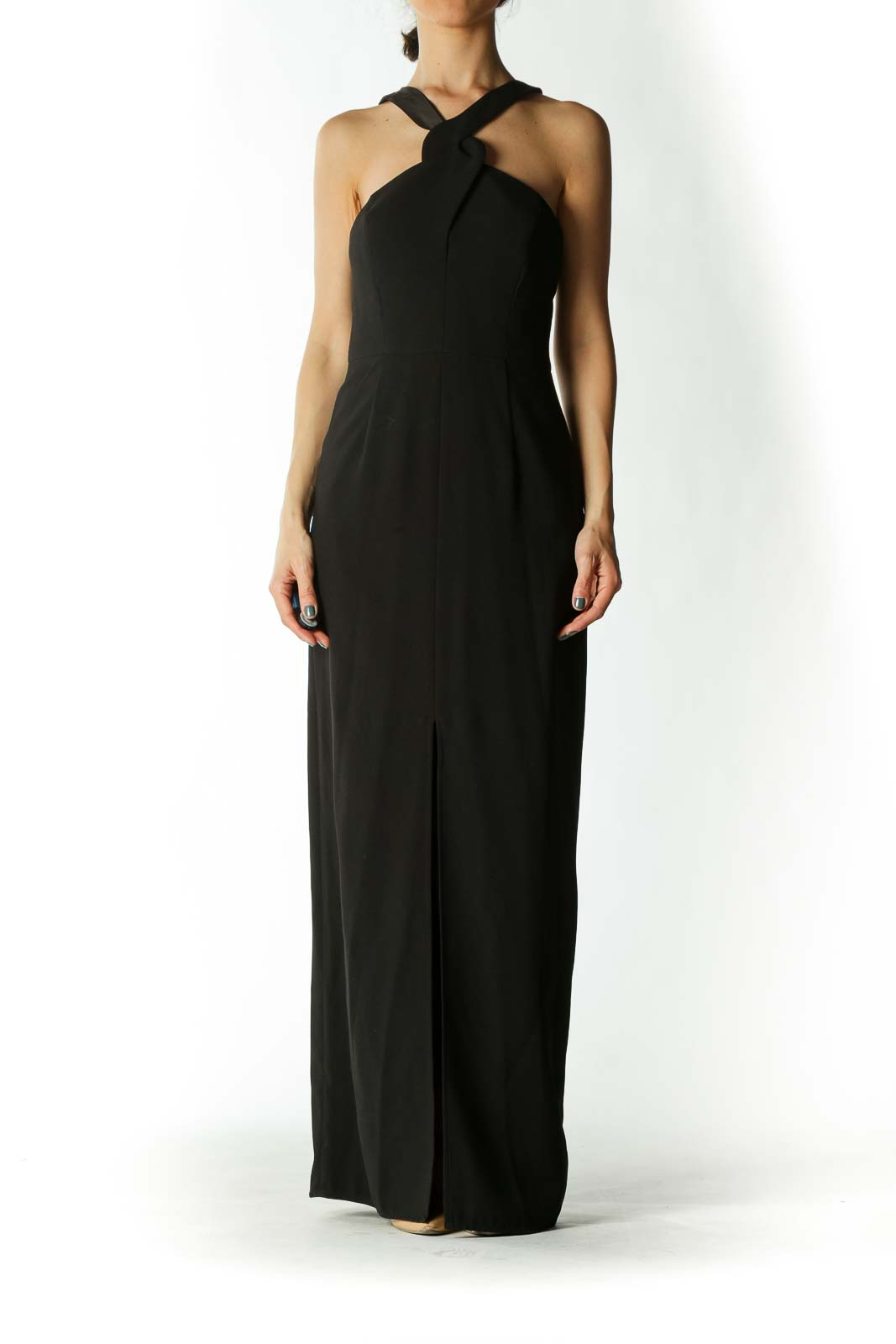 Black Cross-Back Narrow V-neck Evening Dress with Slit