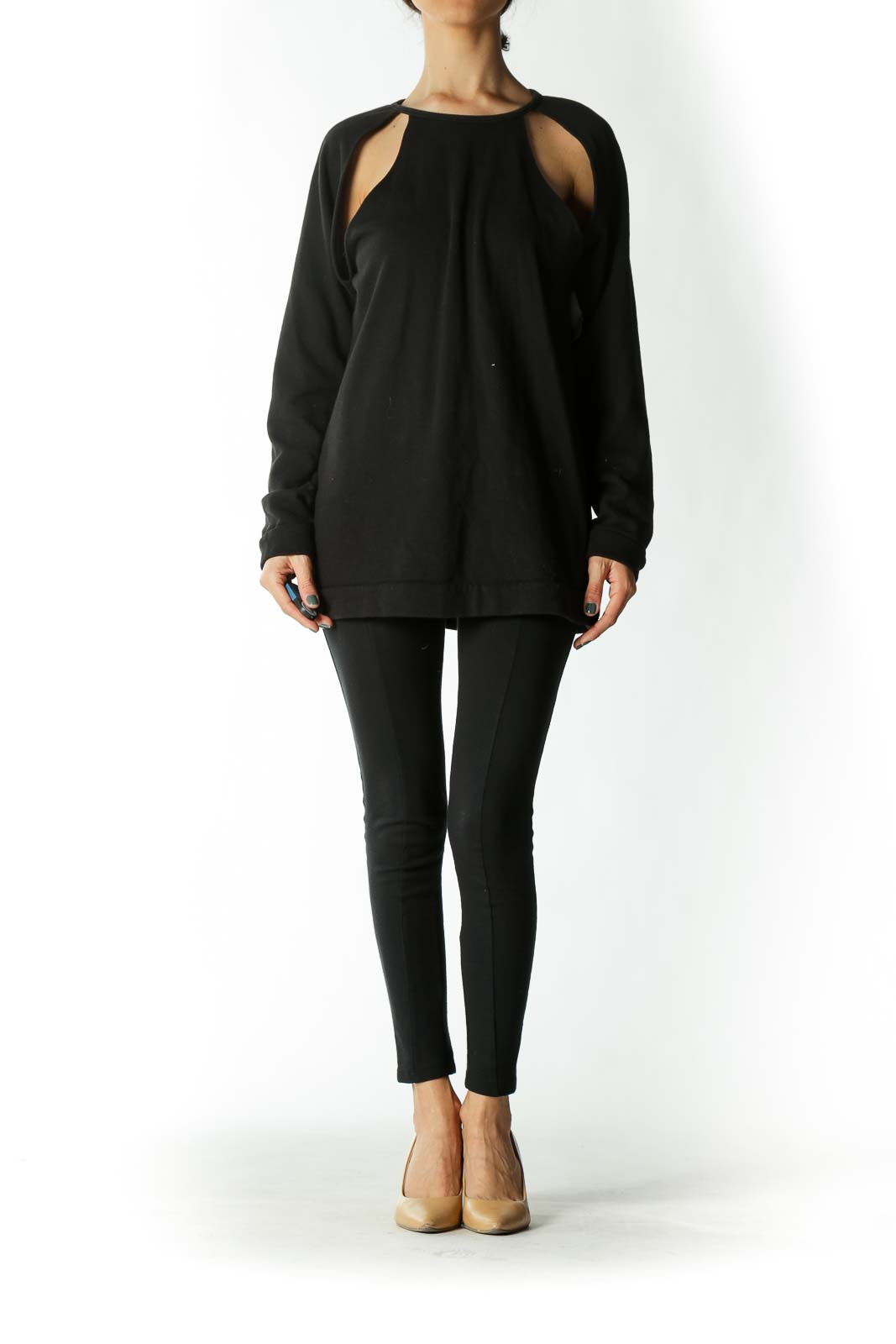 Black Shoulder Cut-Out Crew-Neck Sweatshirt