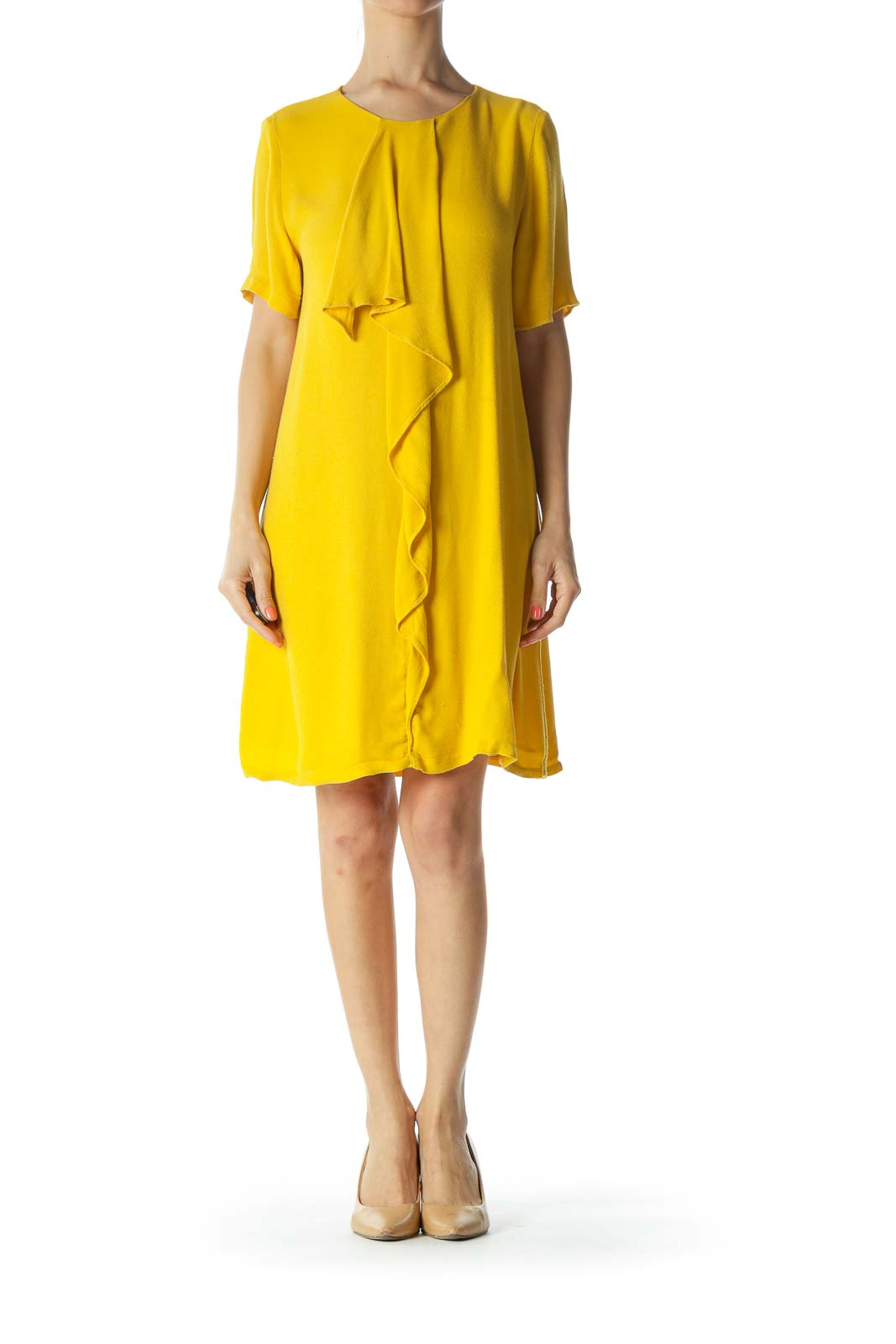 Mustard-Yellow Ruffled-Detail Short-Sleeve Day Dress