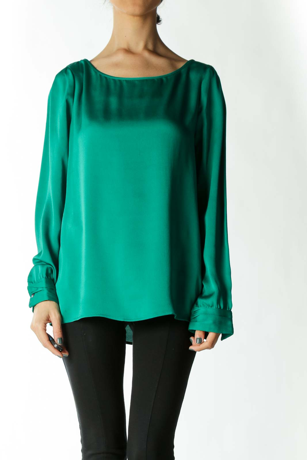 Green Boatneck Cuffed Blouse