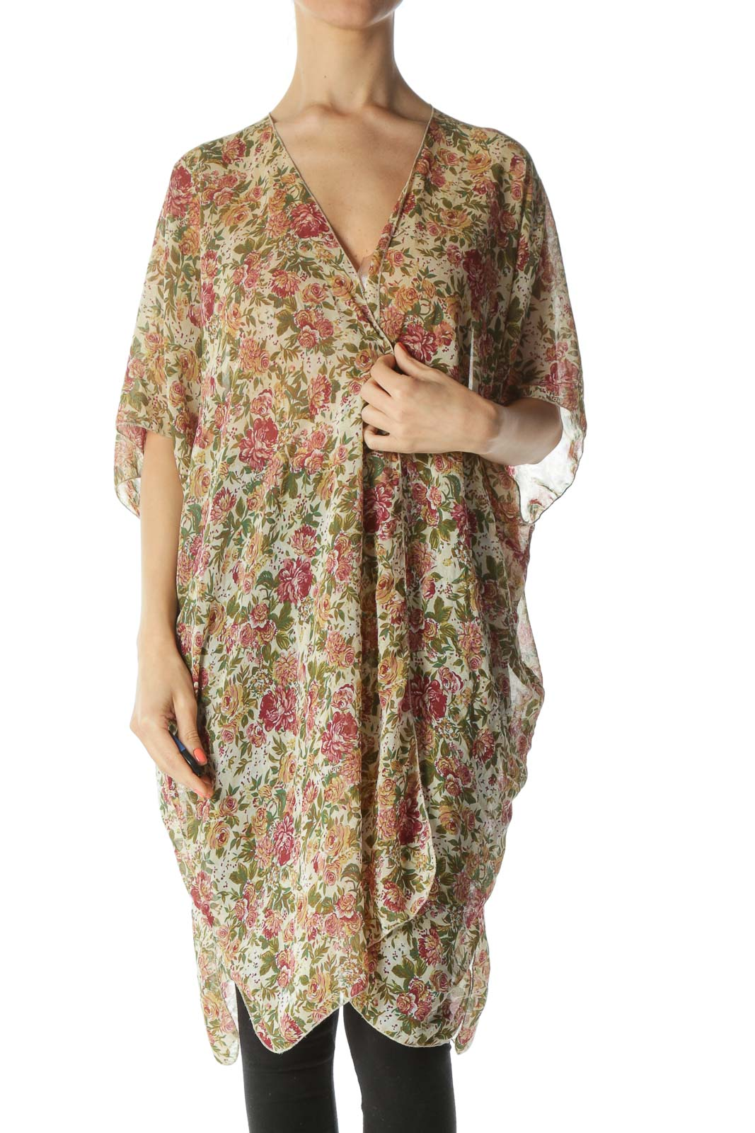 Burgundy/Green/Beige Floral-Print Light-Weight Cardigan