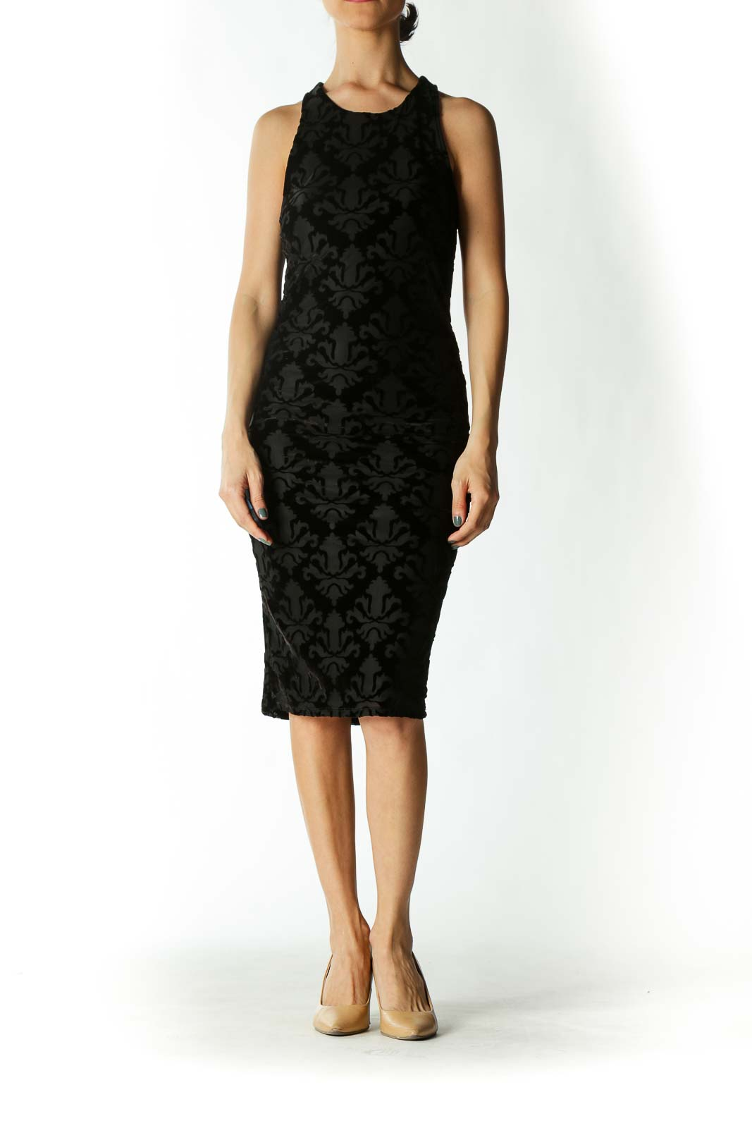 Black Velvet-Patterned Racer-Back Fitted Midi Dress