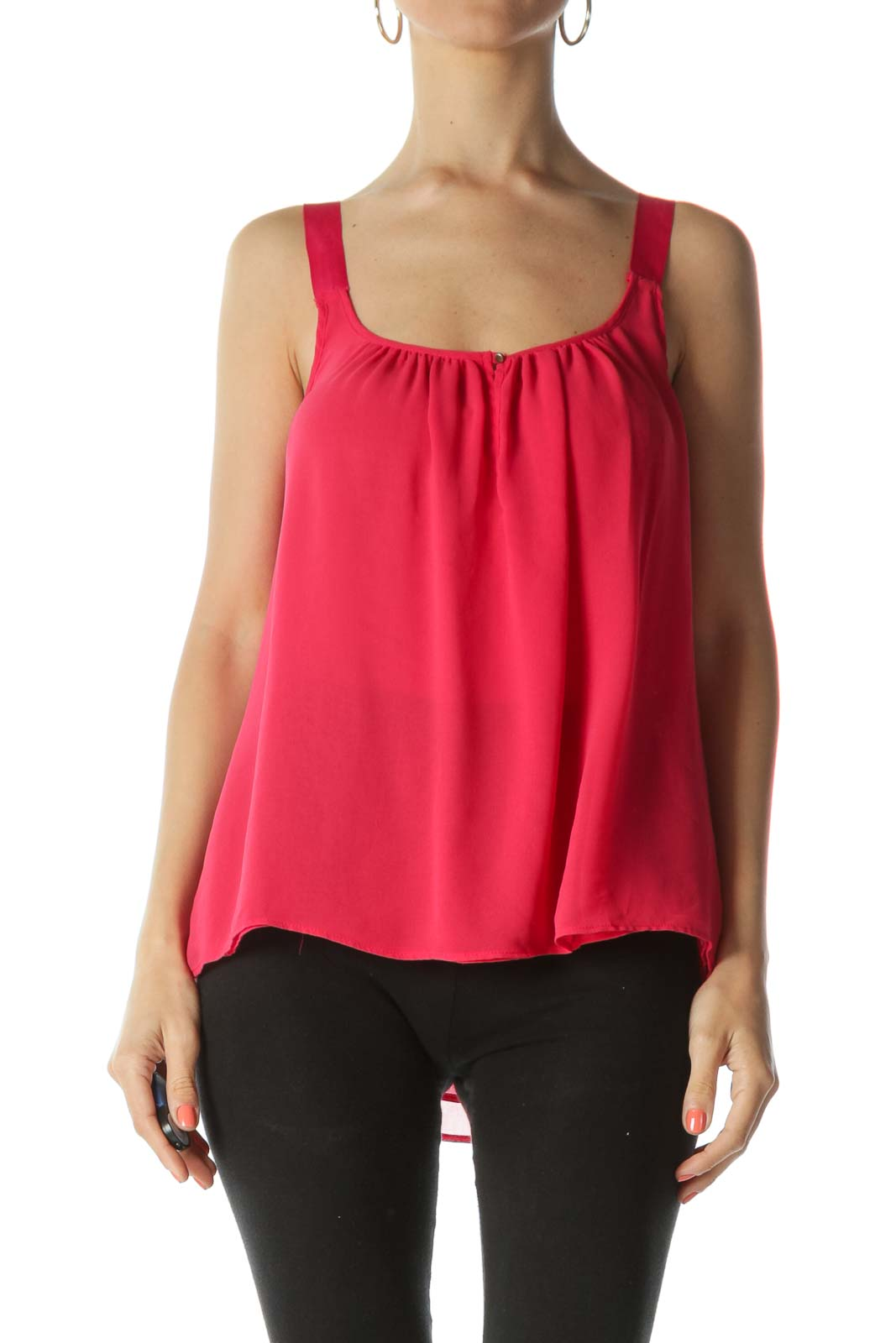 Strawberry-Red Keyhole Sleeveless Translucent Flared Tank Top