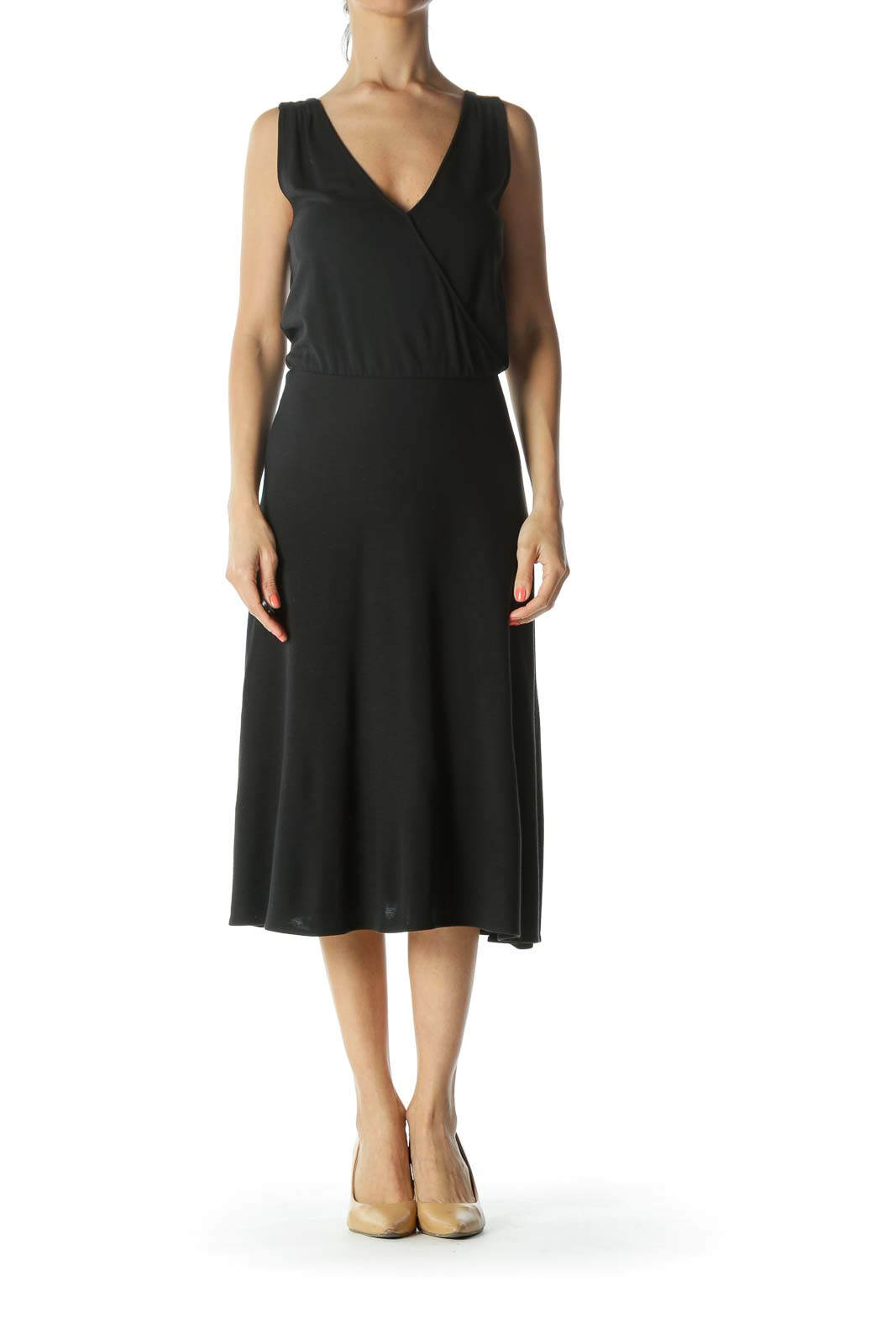 Black Mock-Wrap Knit Dress