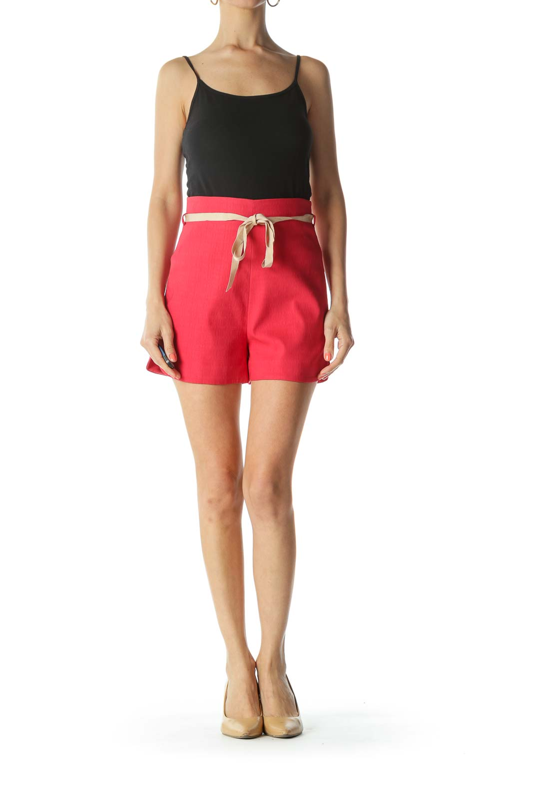 Red/Beige Textured-Fabric Belted High-Waisted Shorts