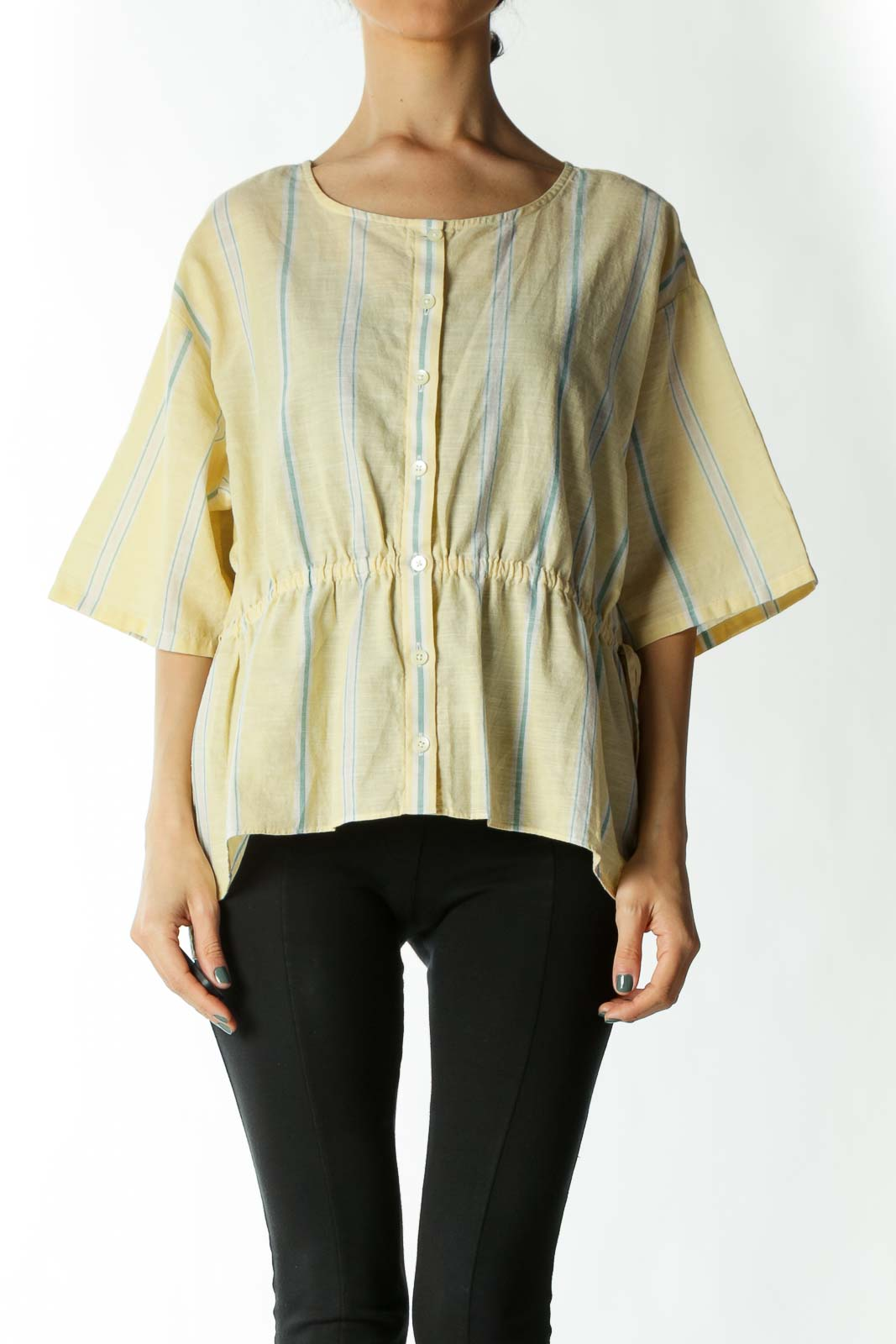 Yellow Green and White Striped Cinched-Waist Button-Down Blouse