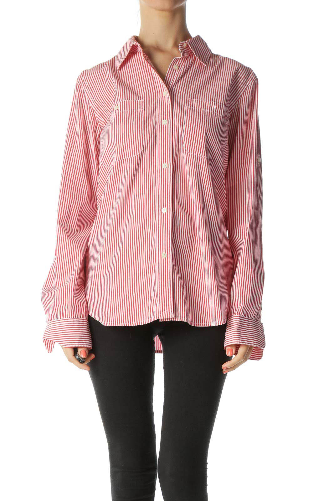 Red and White Striped Buttoned Collared Shirt