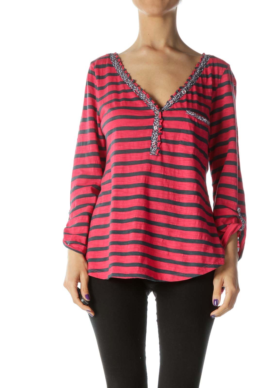 Strawberry-Red/Gray/Blue Floral-Print-Piping Striped Blouse