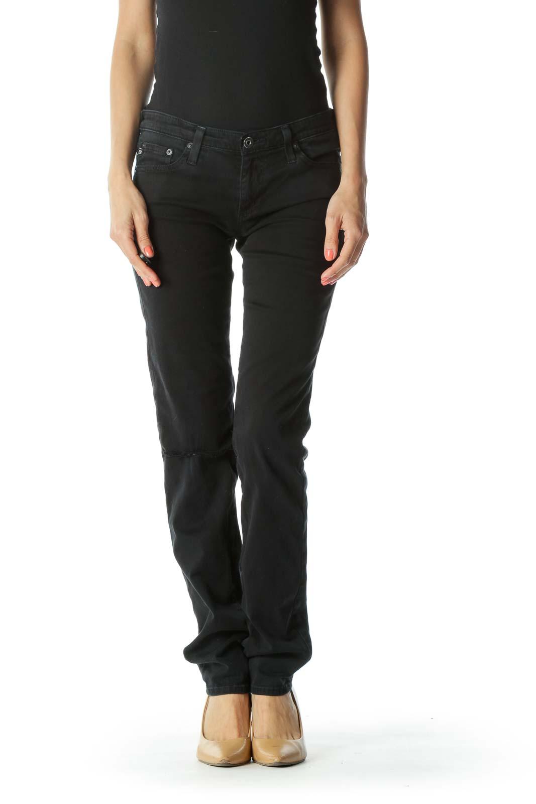 Deep-Blue Knee-Distress-Detail Slim-Fit Stretch Pants