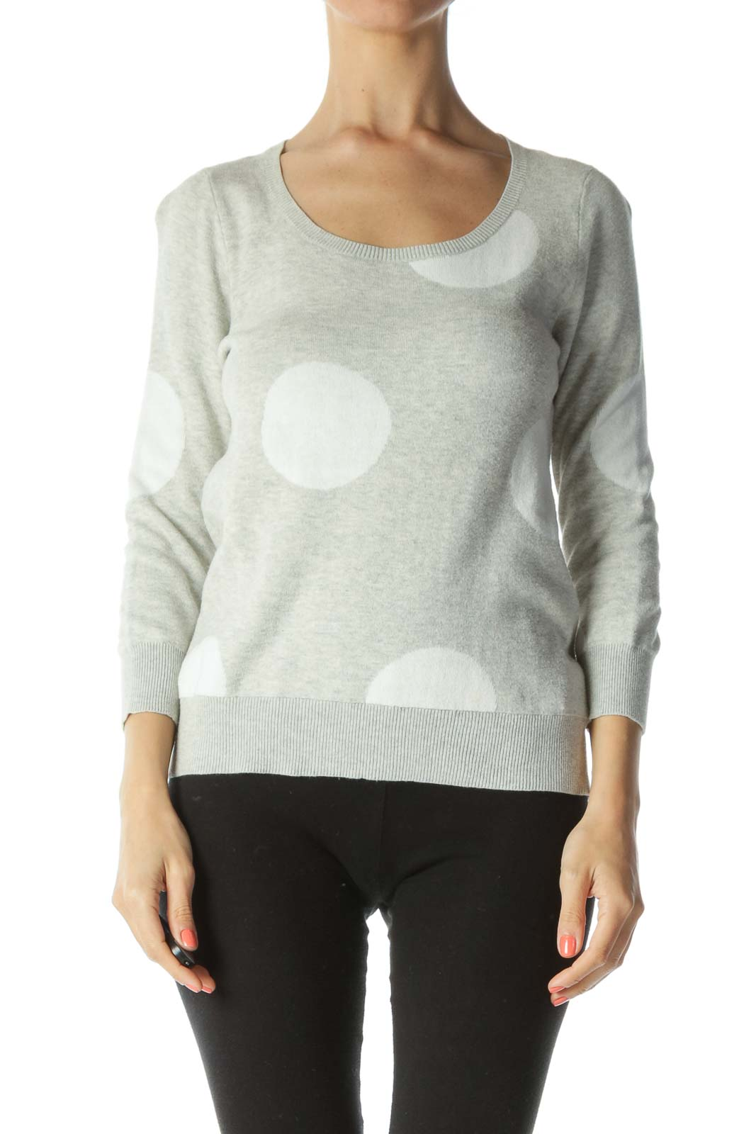 Gray/White 100% Cotton Polka-Dot Pullover Sweater