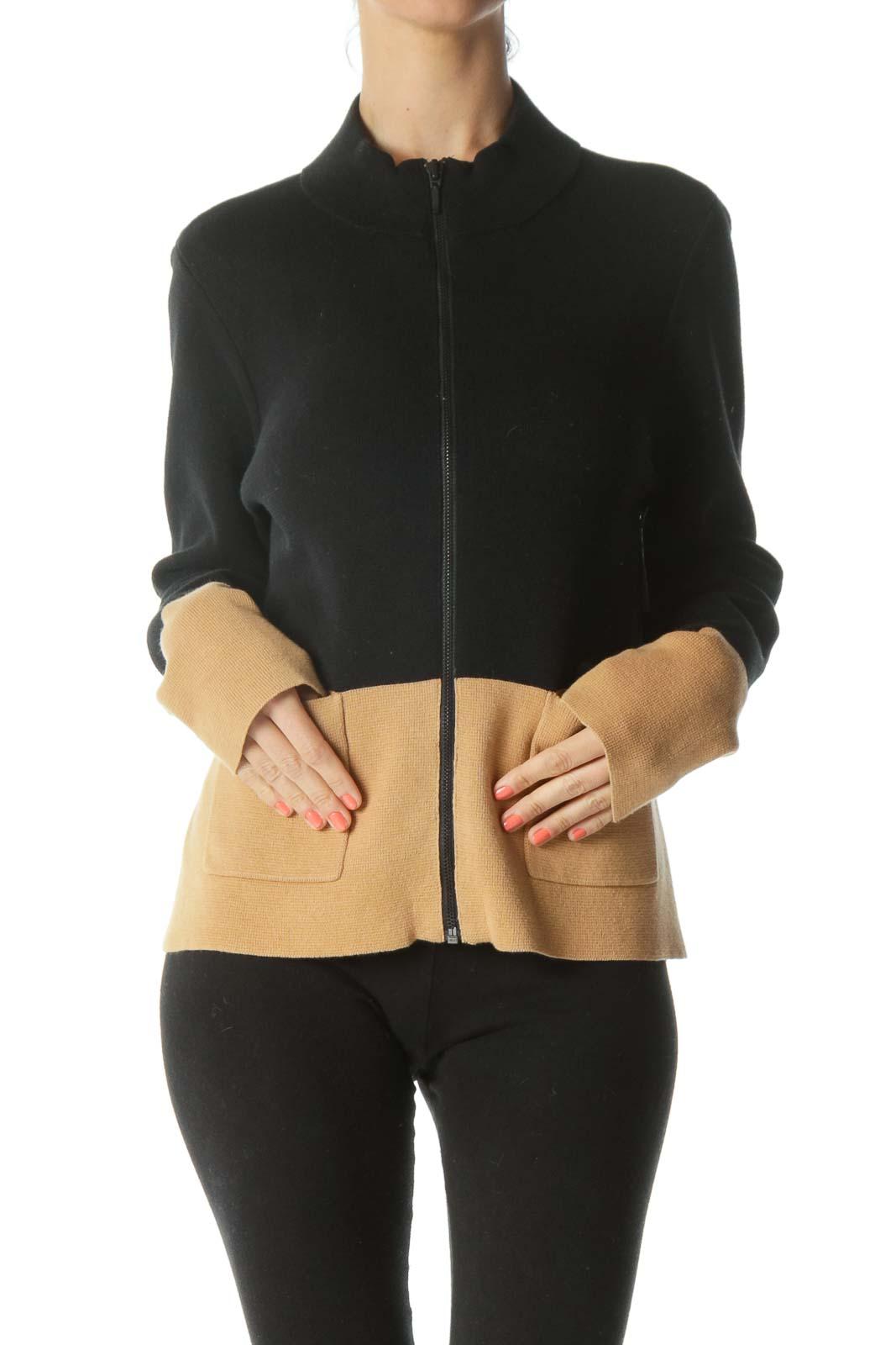 Black/Beige Color-Block Pocketed Knit Zippered Blazer