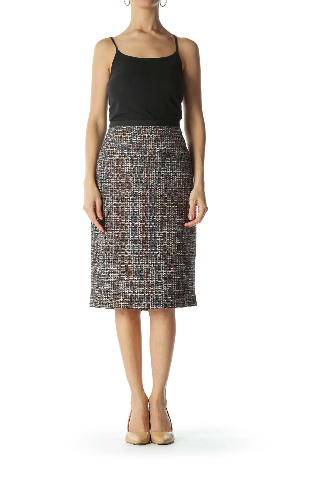 Multicolored Lined Tweed Pencil Slit Skirt