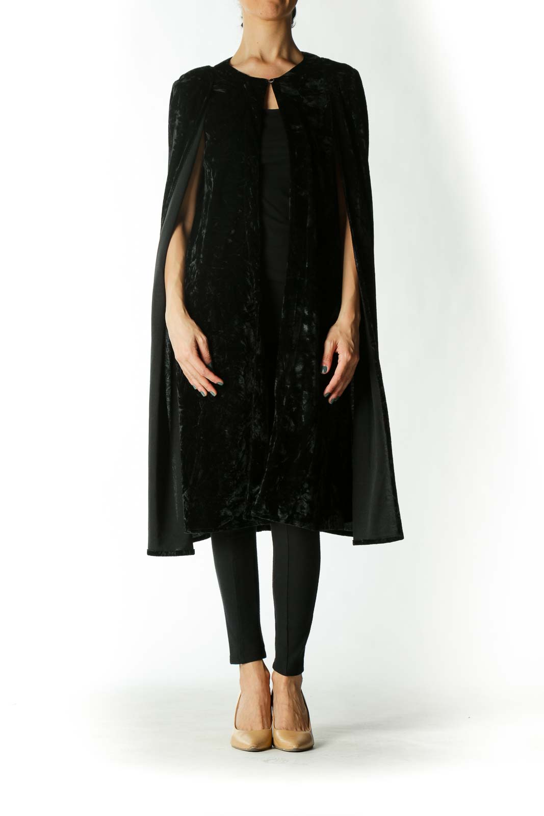 Black Velvet Long Cape