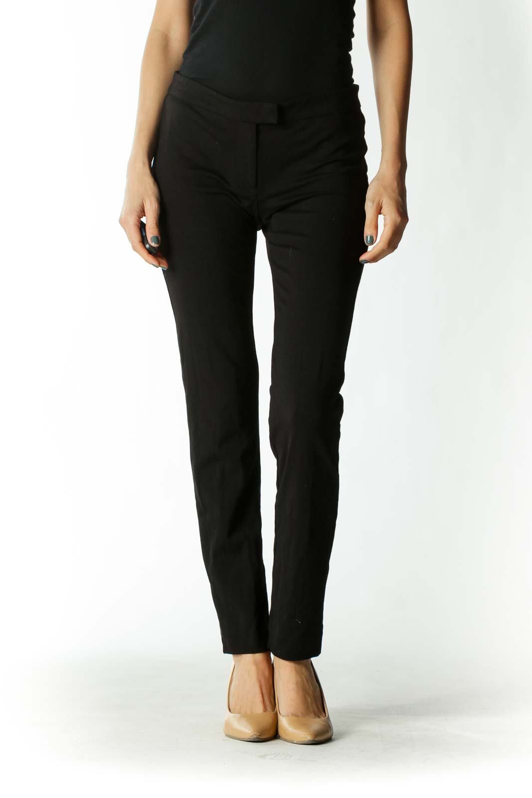 Black Mid-Rise Jeggings with Rear-Pockets