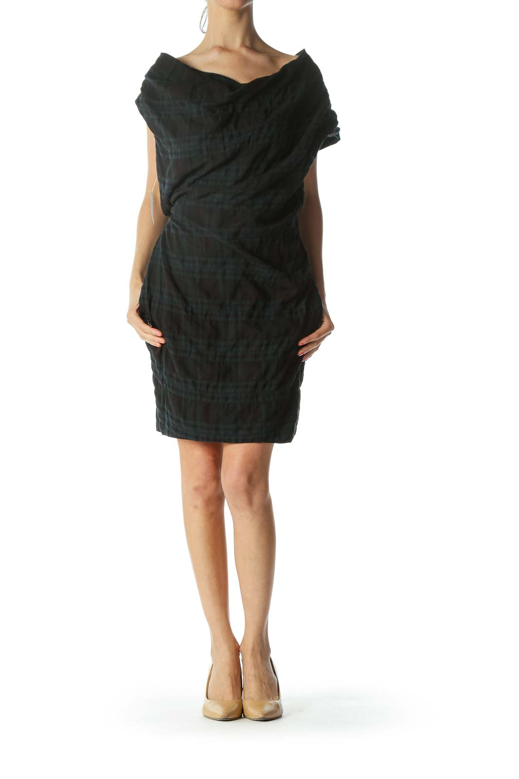 Blue/Black Off-Shoulder Plaid Pocketed Work Dress